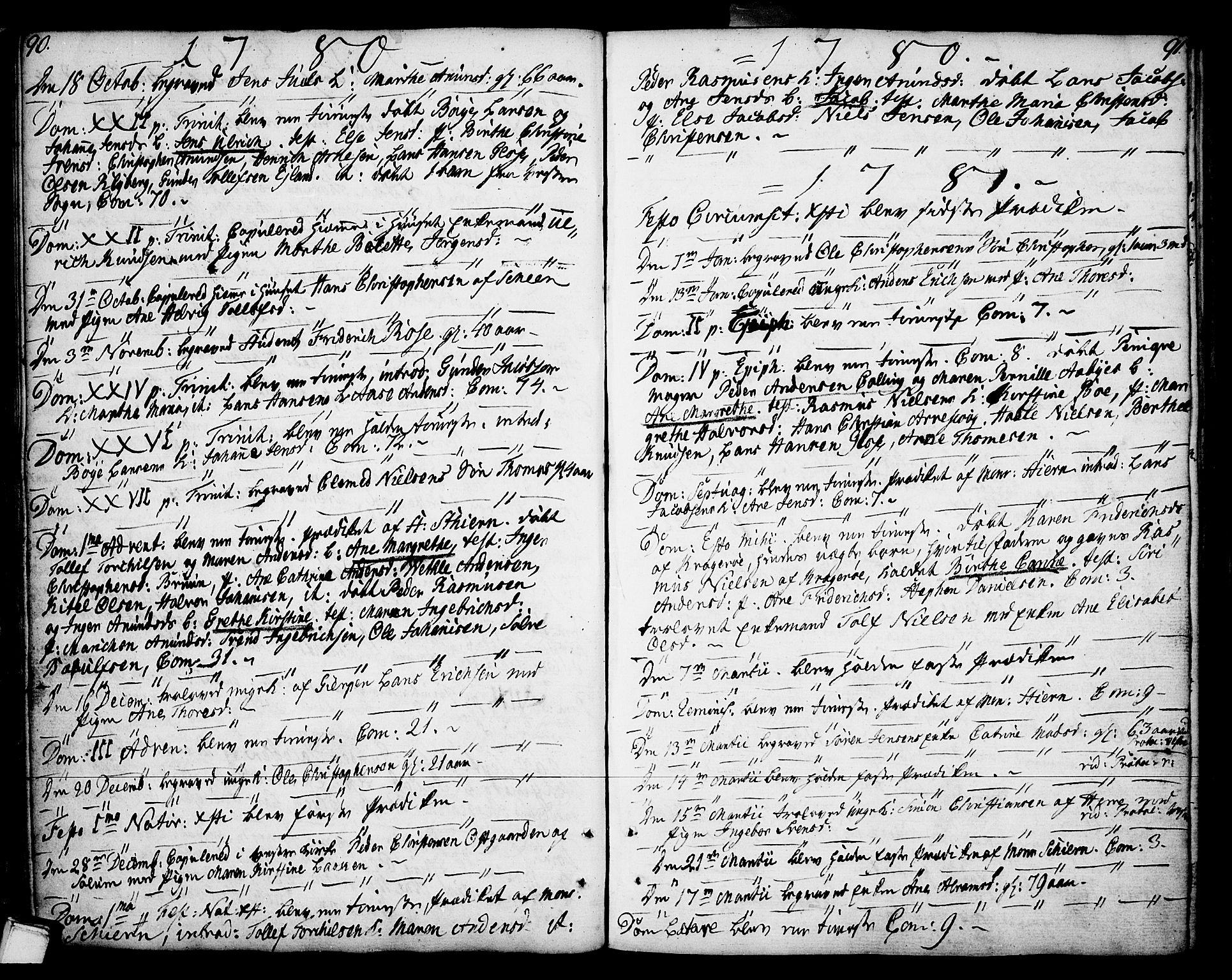 SAKO, Porsgrunn kirkebøker , F/Fa/L0002: Ministerialbok nr. 2, 1764-1814, s. 90-91