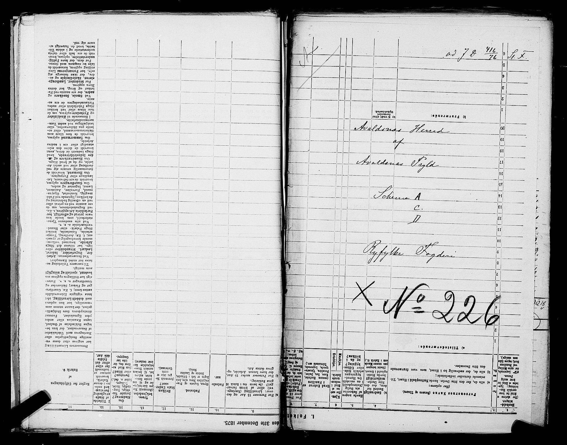 SAST, Folketelling 1875 for 1147L Avaldsnes prestegjeld, Avaldsnes sokn og Kopervik landsokn, 1875, s. 1