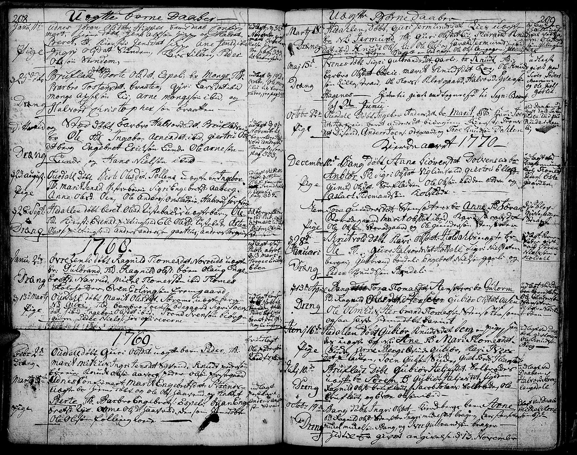 SAH, Aurdal prestekontor, Ministerialbok nr. 5, 1763-1781, s. 208-209