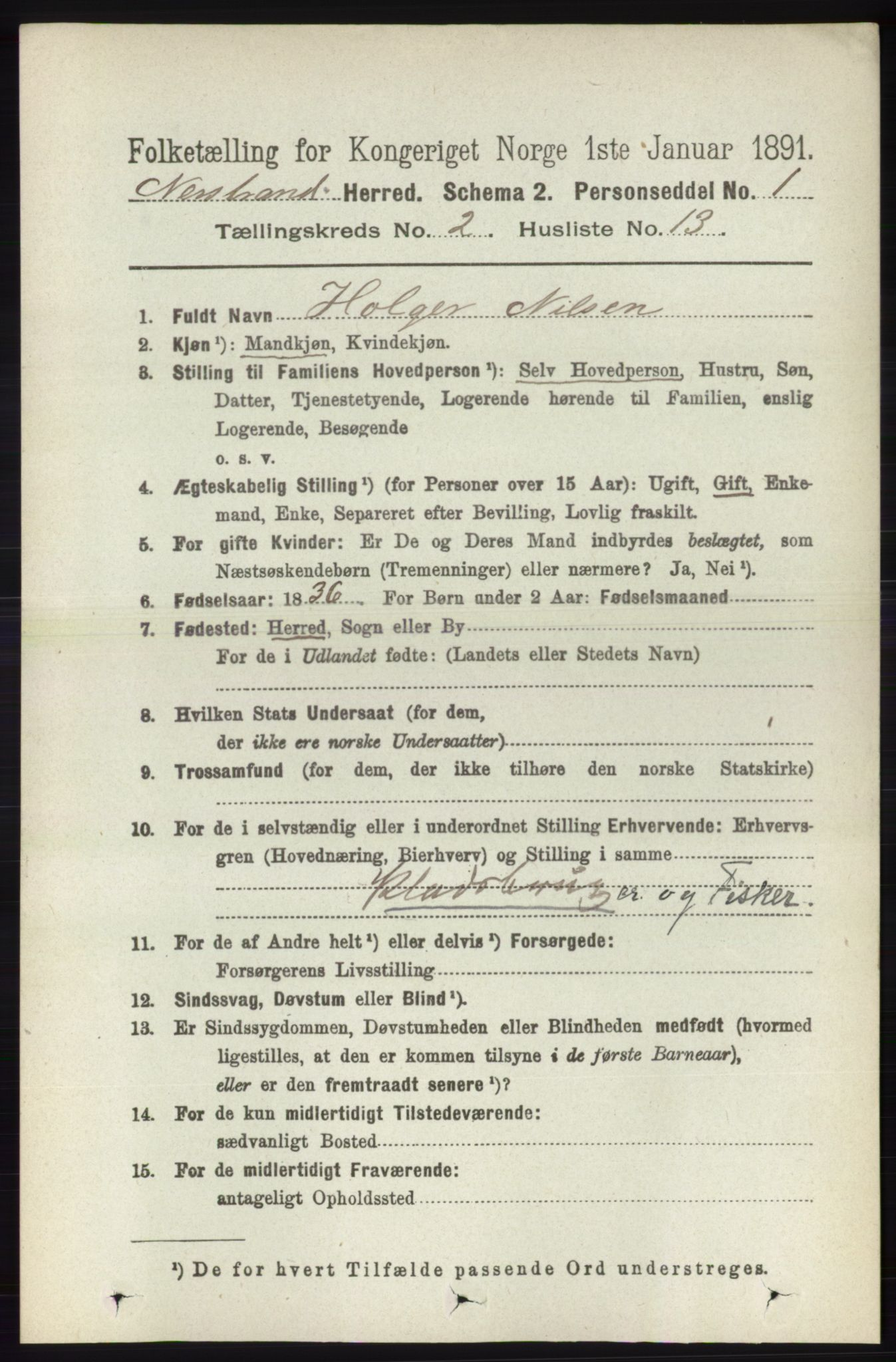 RA, Folketelling 1891 for 1139 Nedstrand herred, 1891, s. 308