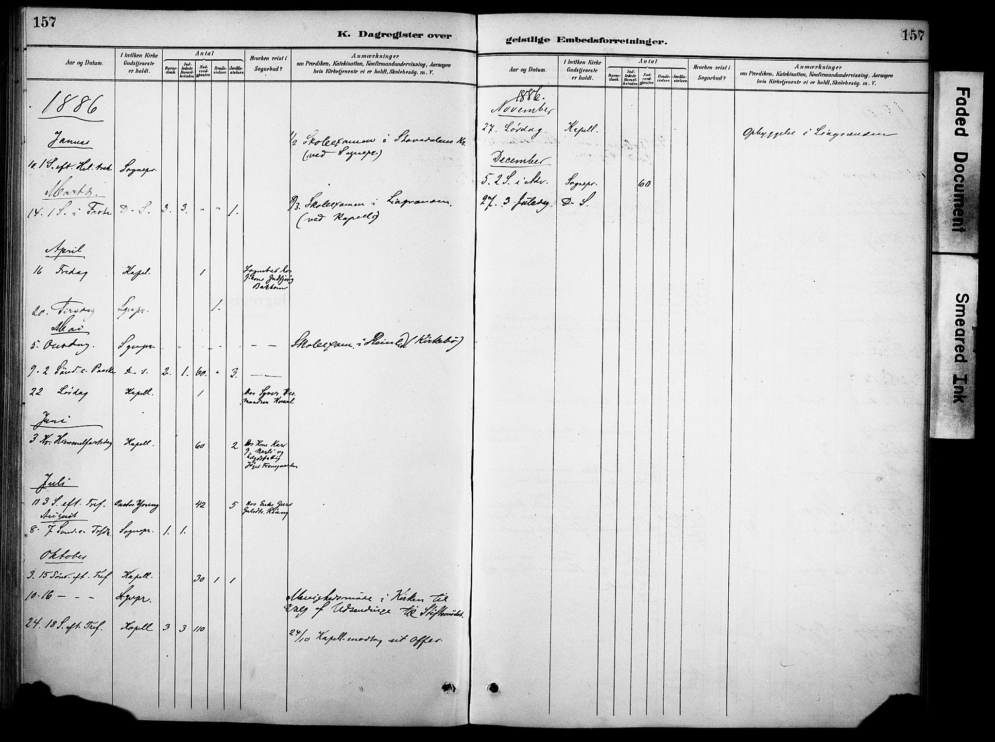 SAH, Sør-Aurdal prestekontor, Ministerialbok nr. 10, 1886-1906, s. 157