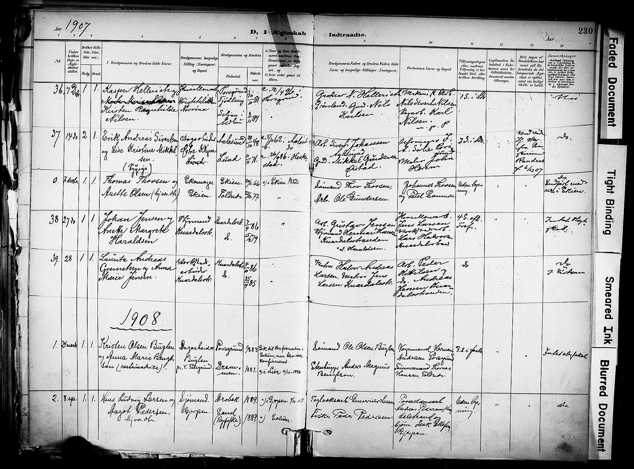 SAKO, Solum kirkebøker, F/Fa/L0011: Ministerialbok nr. I 11, 1898-1909, s. 230
