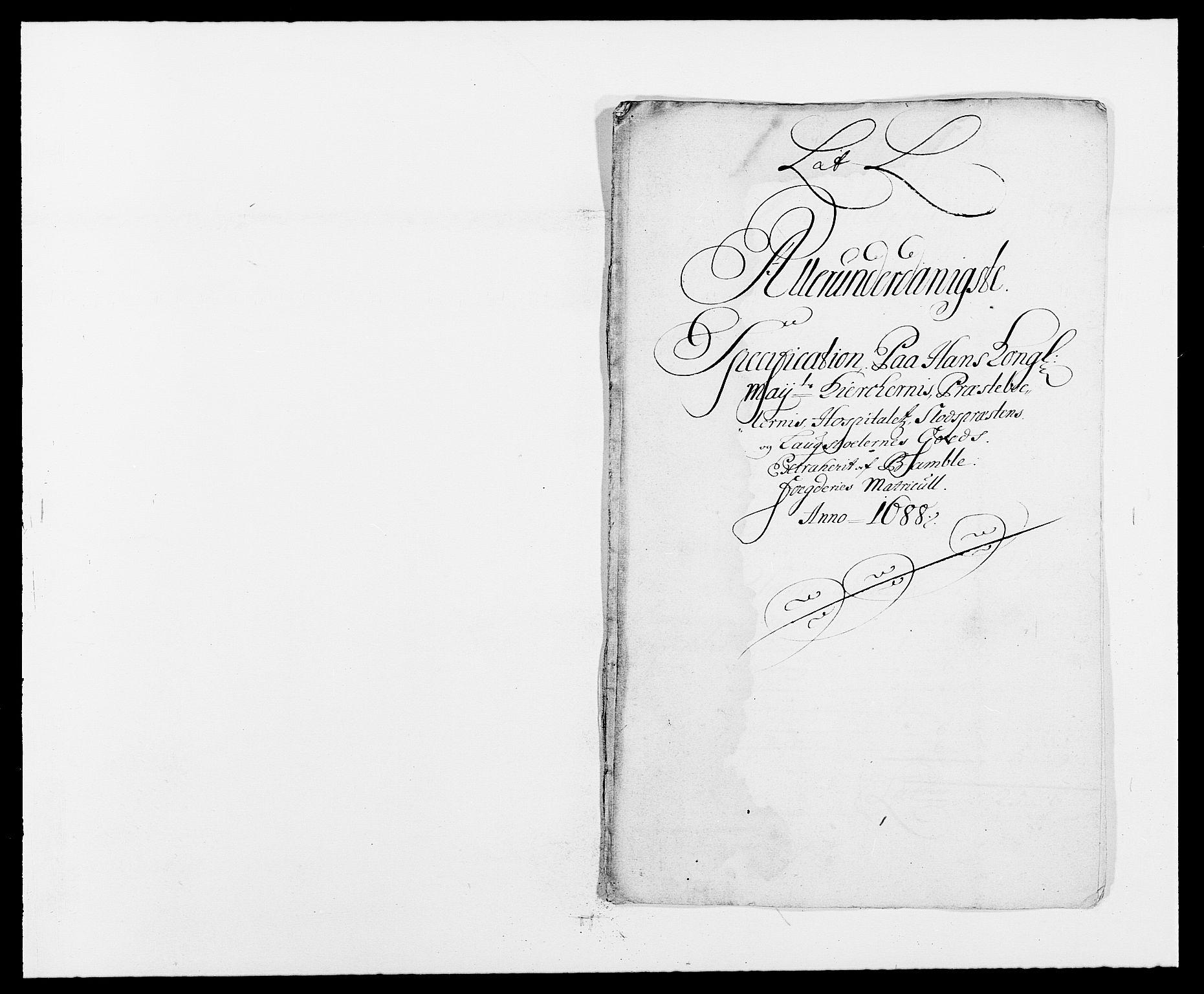 RA, Rentekammeret inntil 1814, Reviderte regnskaper, Fogderegnskap, R34/L2050: Fogderegnskap Bamble, 1688-1691, s. 213