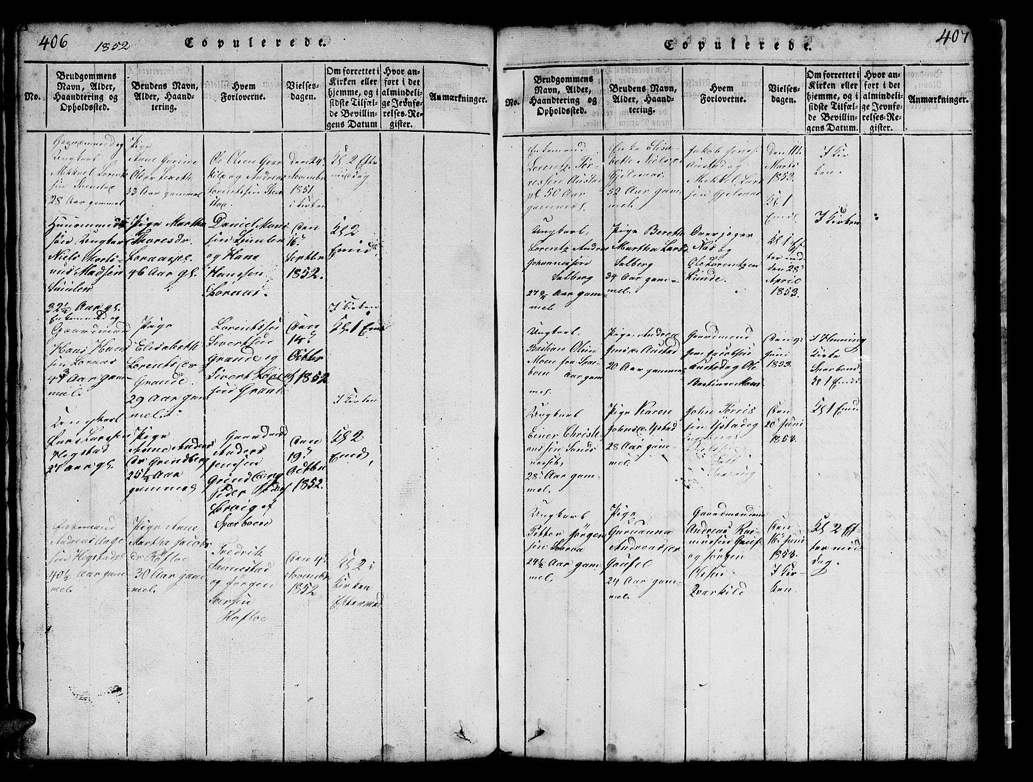 SAT, Ministerialprotokoller, klokkerbøker og fødselsregistre - Nord-Trøndelag, 731/L0310: Klokkerbok nr. 731C01, 1816-1874, s. 406-407