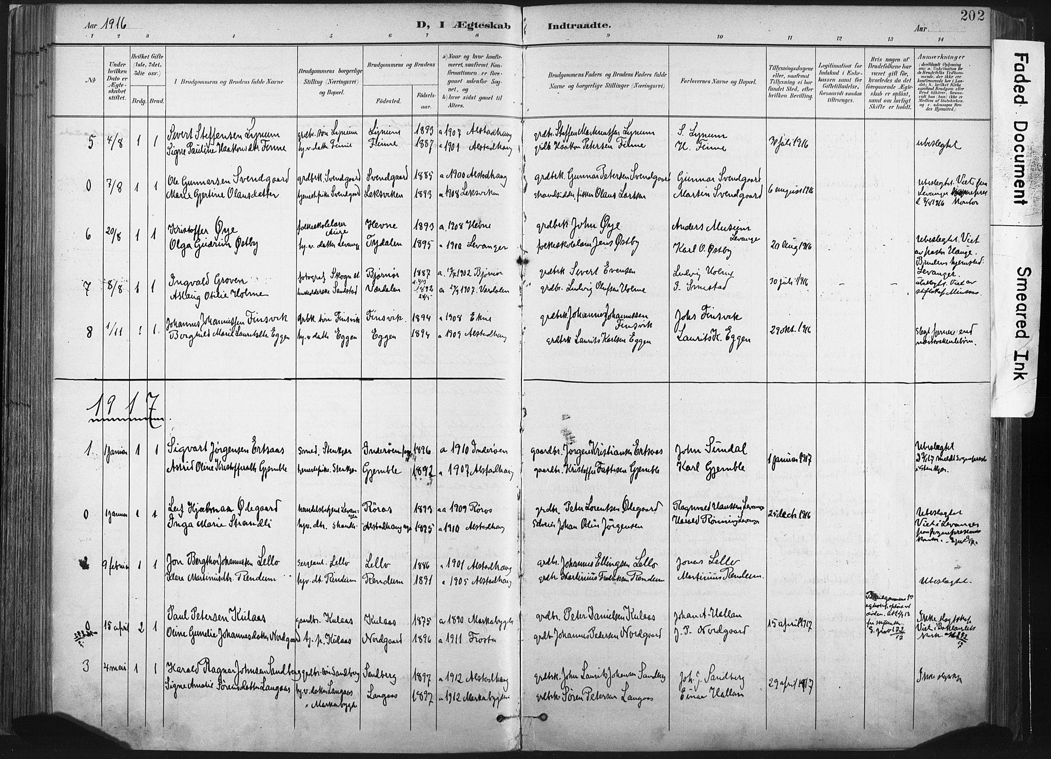 SAT, Ministerialprotokoller, klokkerbøker og fødselsregistre - Nord-Trøndelag, 717/L0162: Ministerialbok nr. 717A12, 1898-1923, s. 202