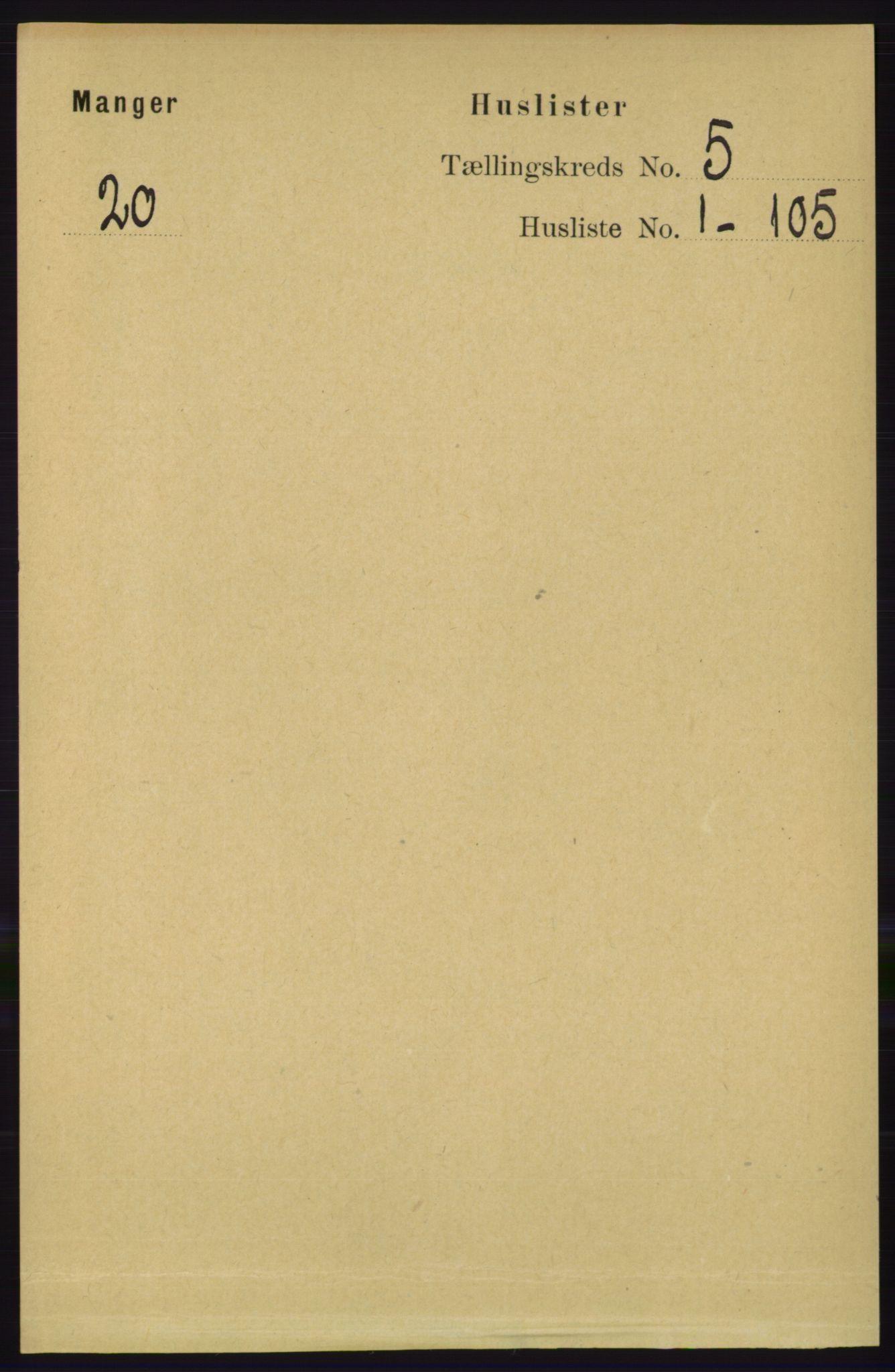 RA, Folketelling 1891 for 1261 Manger herred, 1891, s. 2541