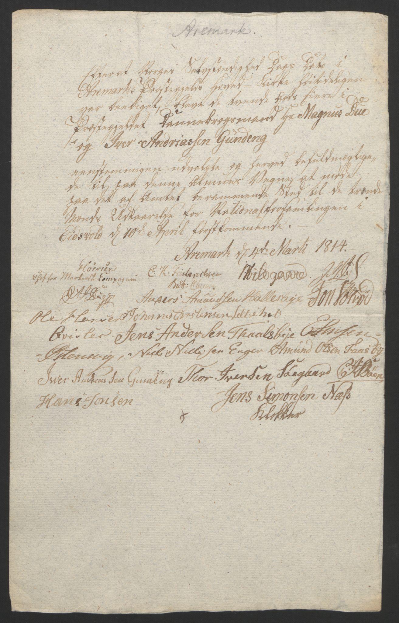 RA, Statsrådssekretariatet, D/Db/L0007: Fullmakter for Eidsvollsrepresentantene i 1814. , 1814, s. 140