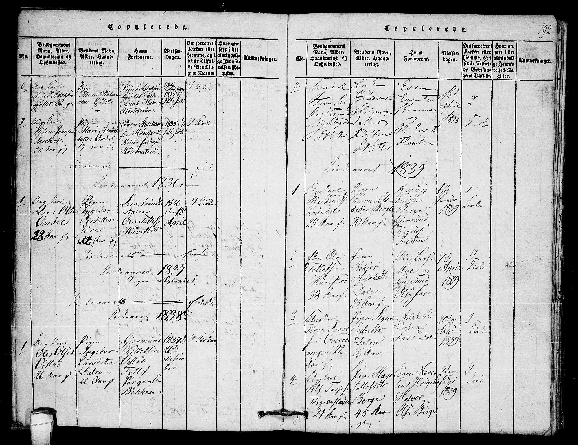 SAKO, Lårdal kirkebøker, G/Gb/L0001: Klokkerbok nr. II 1, 1815-1865, s. 192