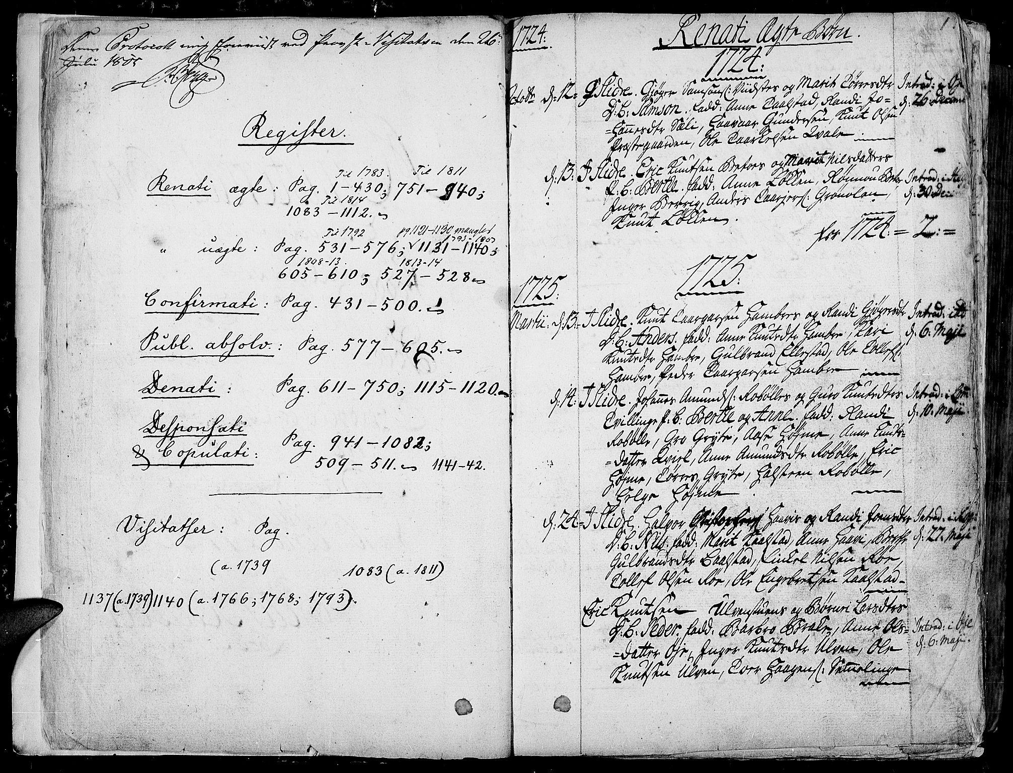SAH, Slidre prestekontor, Ministerialbok nr. 1, 1724-1814, s. 0-1