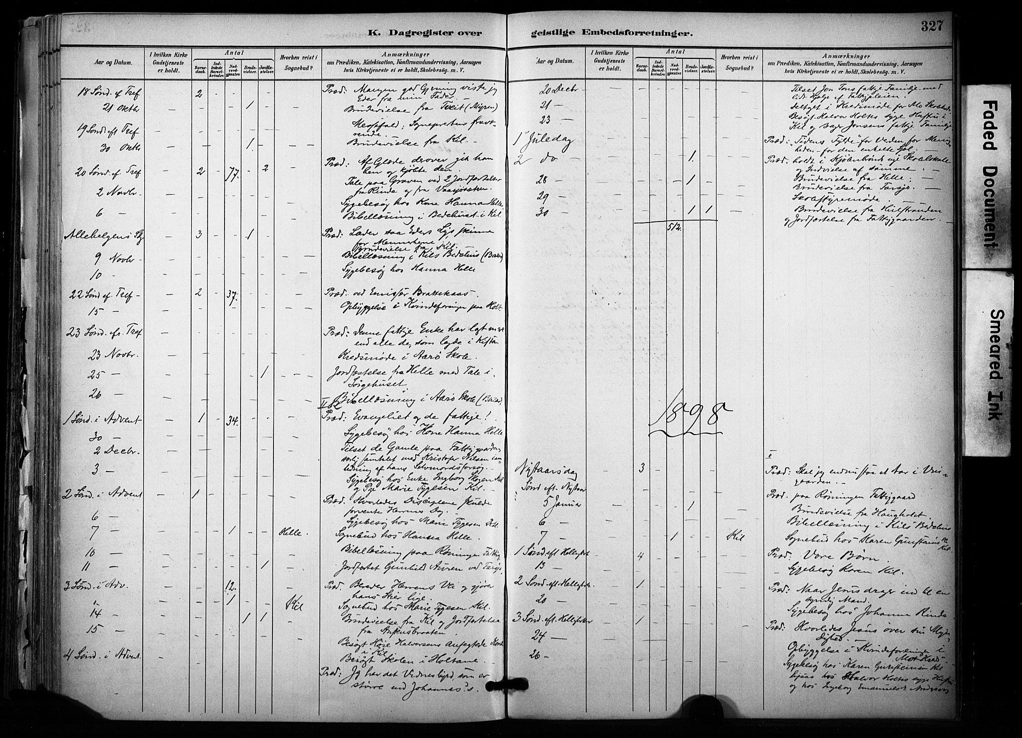 SAKO, Sannidal kirkebøker, F/Fa/L0015: Ministerialbok nr. 15, 1884-1899, s. 327
