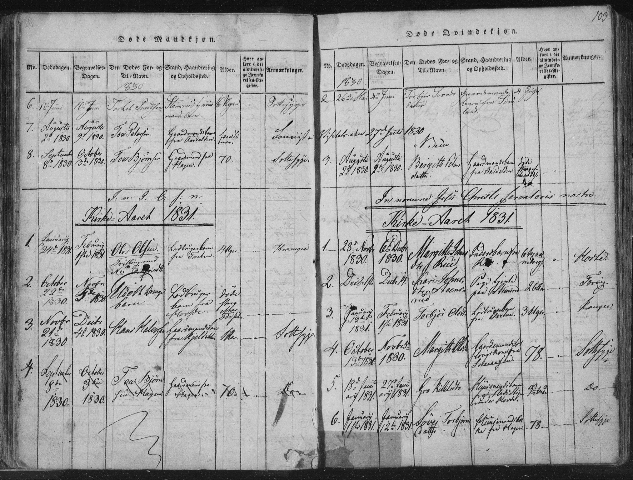 SAKO, Hjartdal kirkebøker, F/Fc/L0001: Ministerialbok nr. III 1, 1815-1843, s. 103