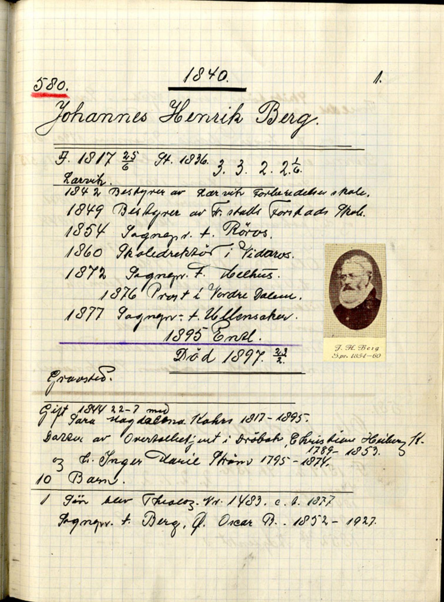 SAB, Stendal, Gunnar - samlinger til norsk prestehistorie, 01/L0002: Norske teologer, 1840-1869