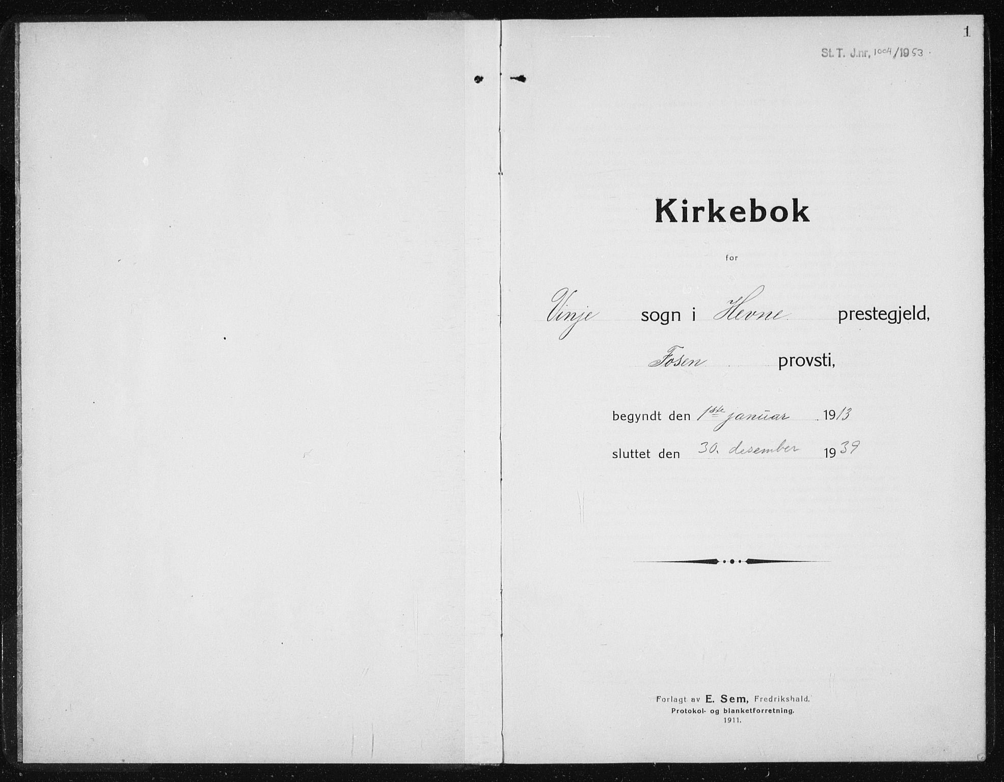SAT, Ministerialprotokoller, klokkerbøker og fødselsregistre - Sør-Trøndelag, 631/L0515: Klokkerbok nr. 631C03, 1913-1939, s. 1
