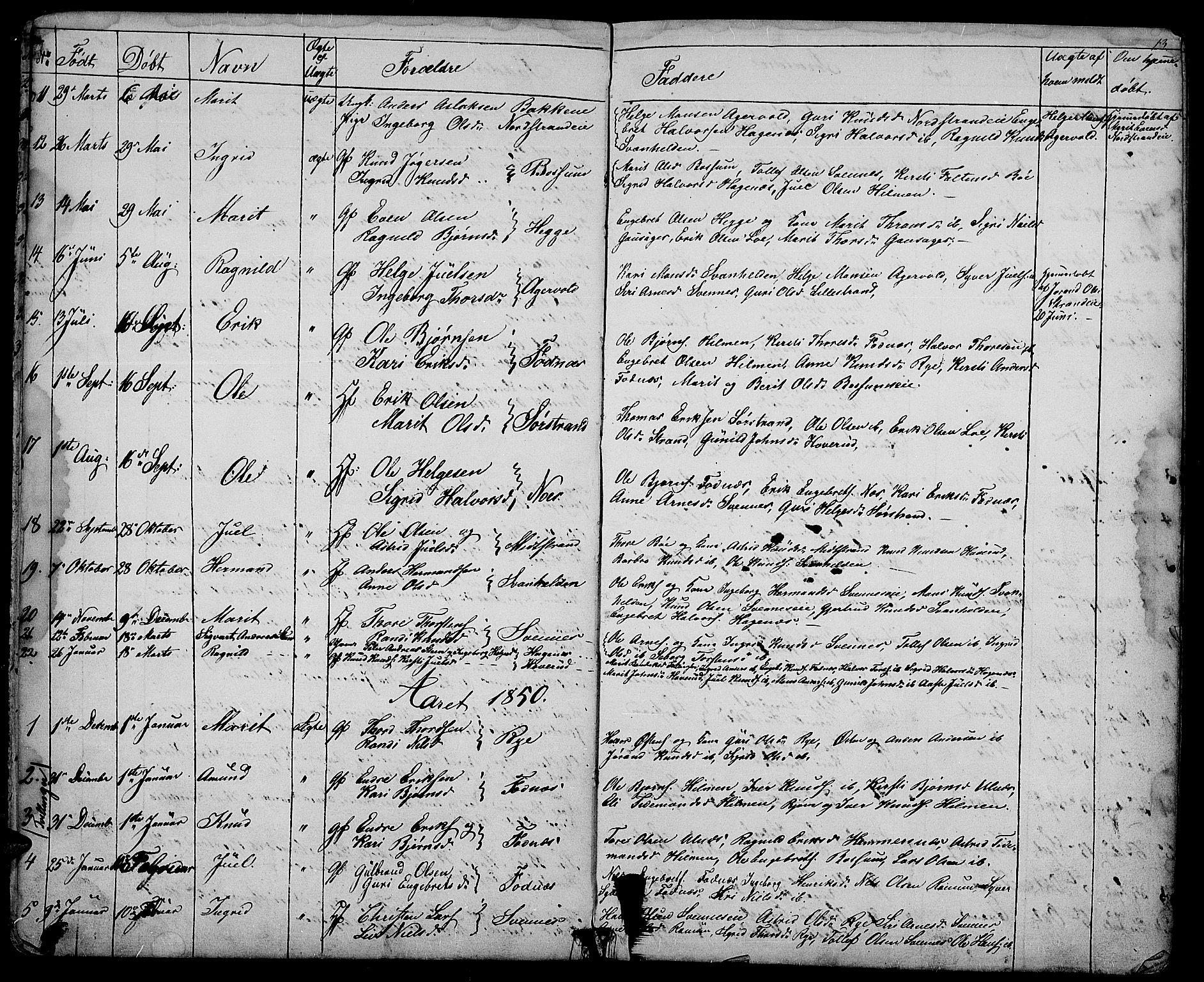 SAH, Nord-Aurdal prestekontor, Klokkerbok nr. 3, 1842-1882, s. 13