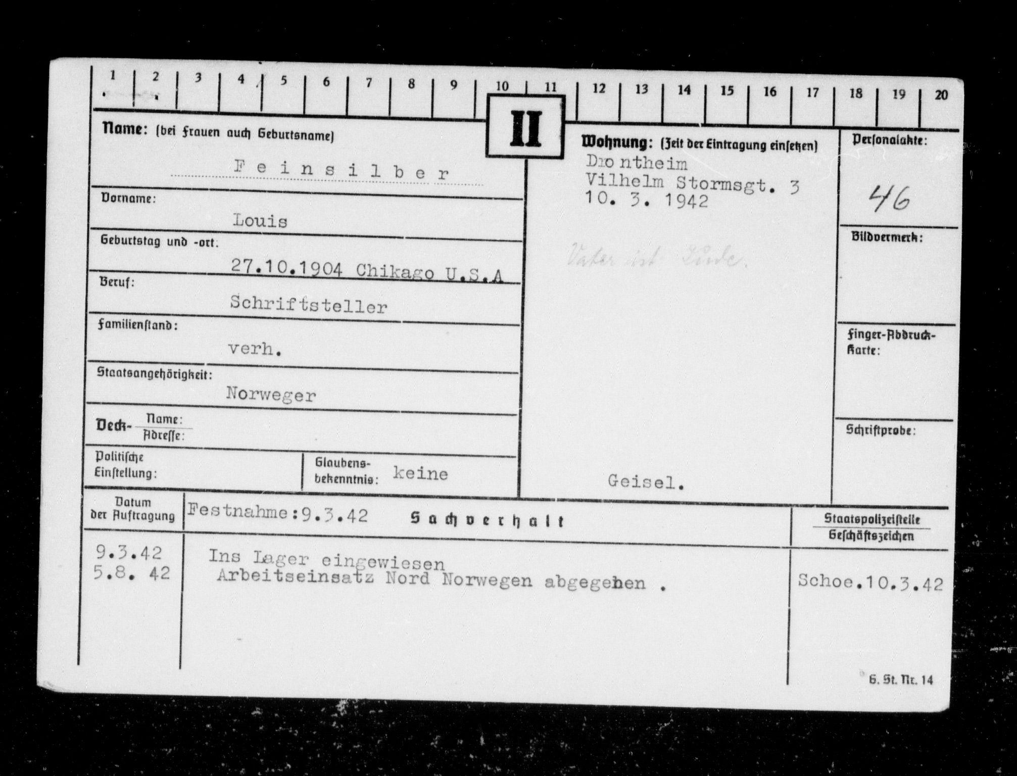 RA, Befehlshaber der Sicherheitspolizei und des SD, F/Fc/L0004: Fangeregister Falstad: Fe - Hansen, E., 1941-1945