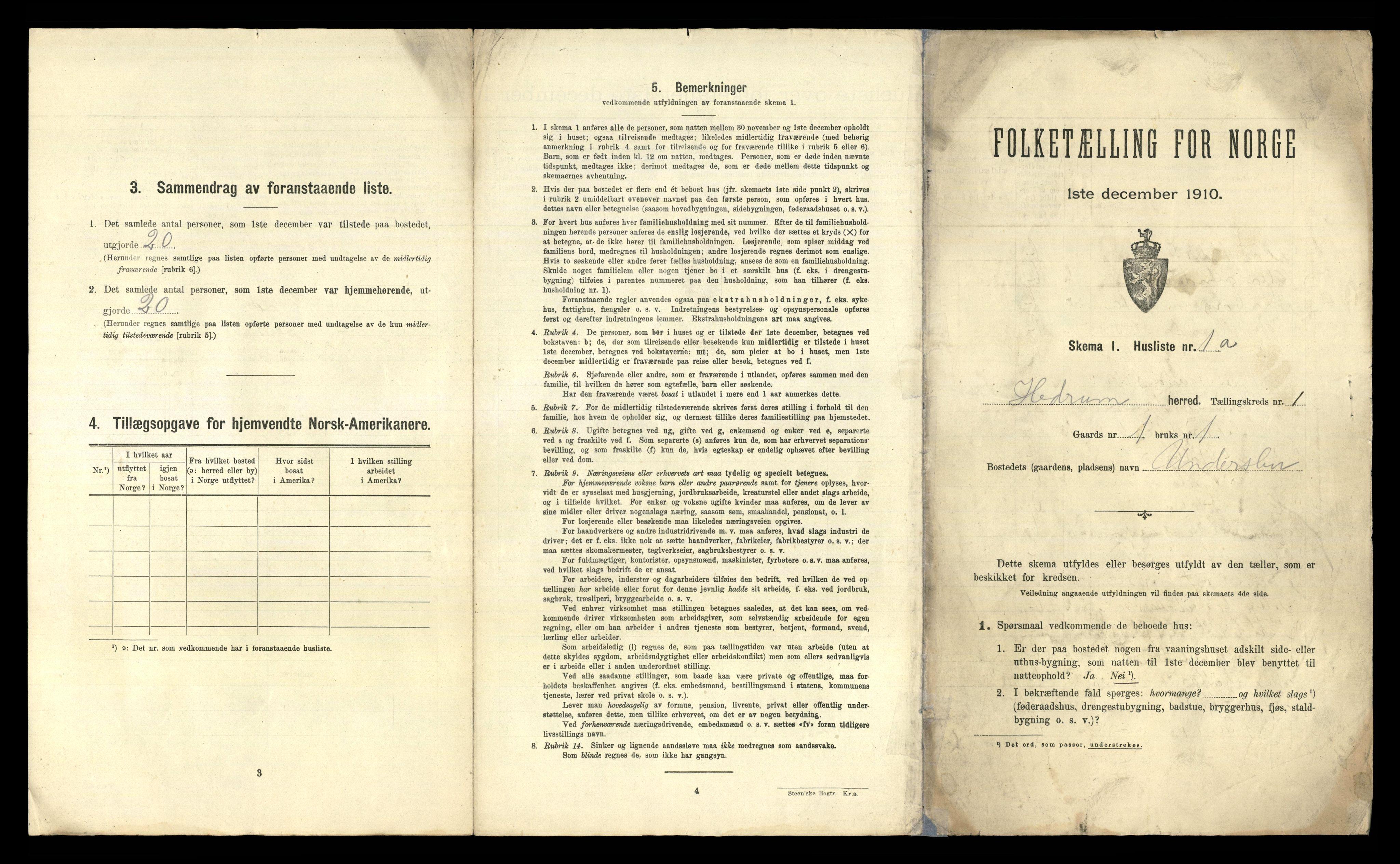 RA, Folketelling 1910 for 0727 Hedrum herred, 1910, s. 60