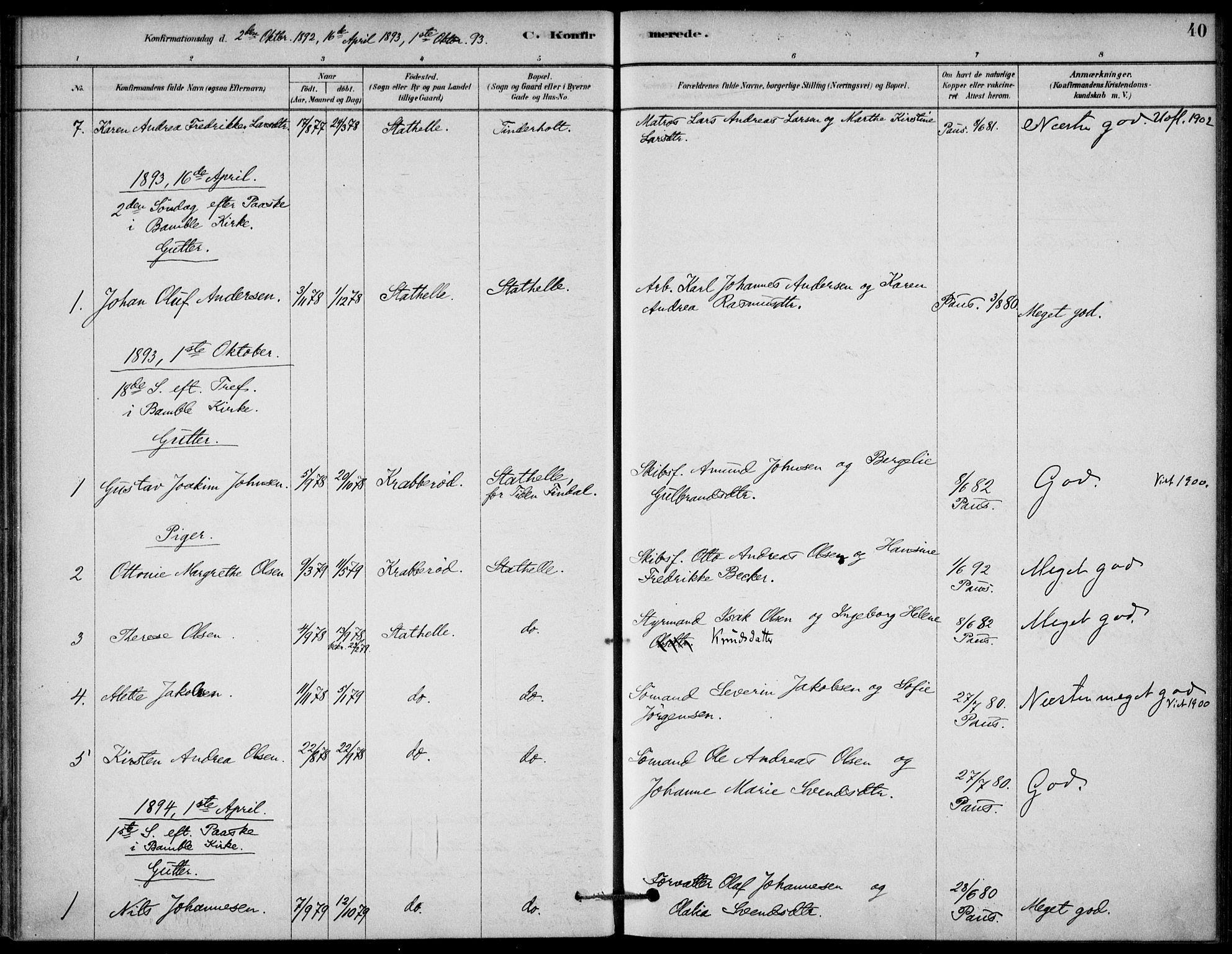 SAKO, Bamble kirkebøker, G/Gb/L0001: Klokkerbok nr. II 1, 1878-1900, s. 40