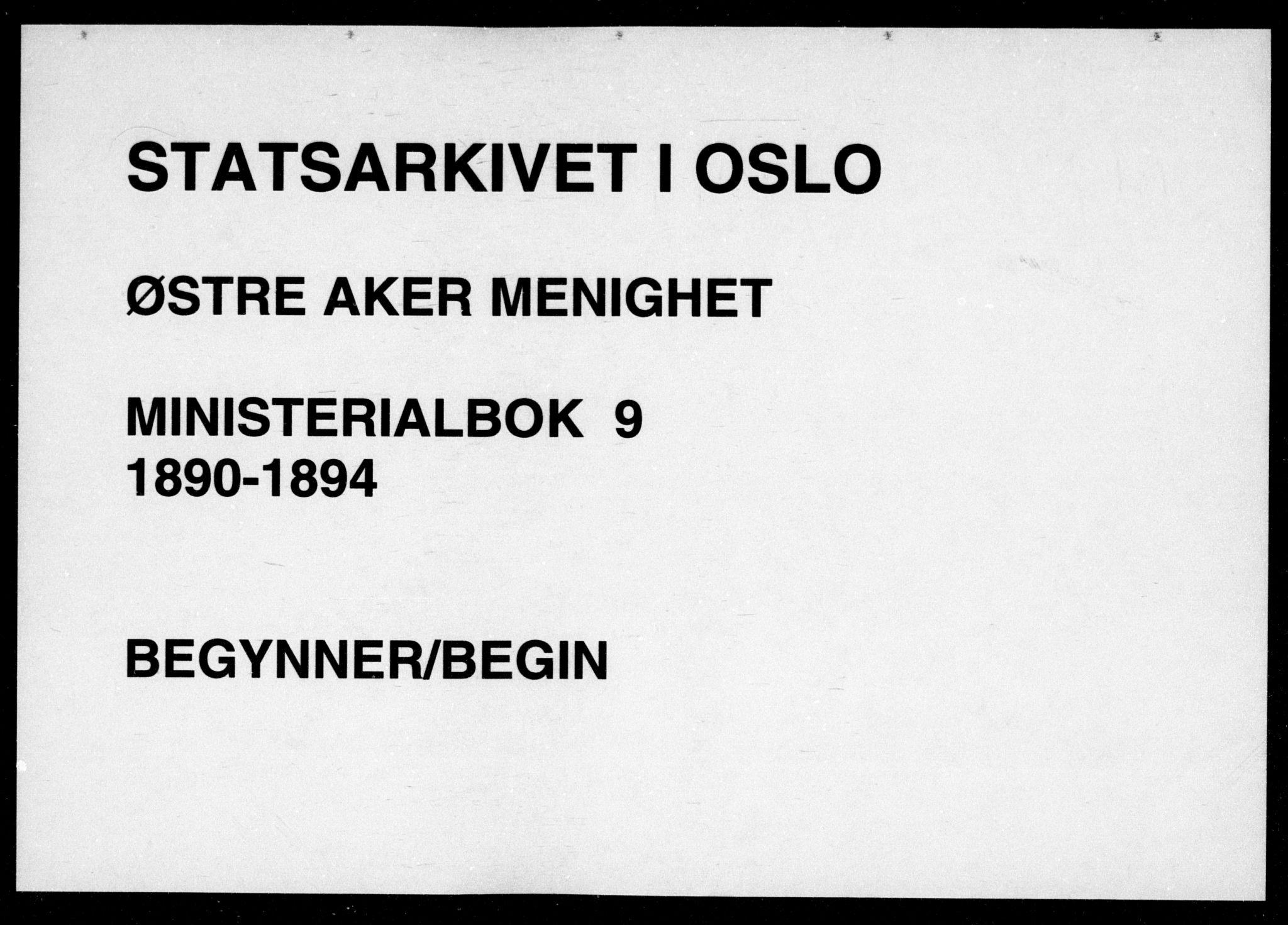 SAO, Østre Aker prestekontor Kirkebøker, F/Fa/L0009: Ministerialbok nr. I 9, 1890-1894