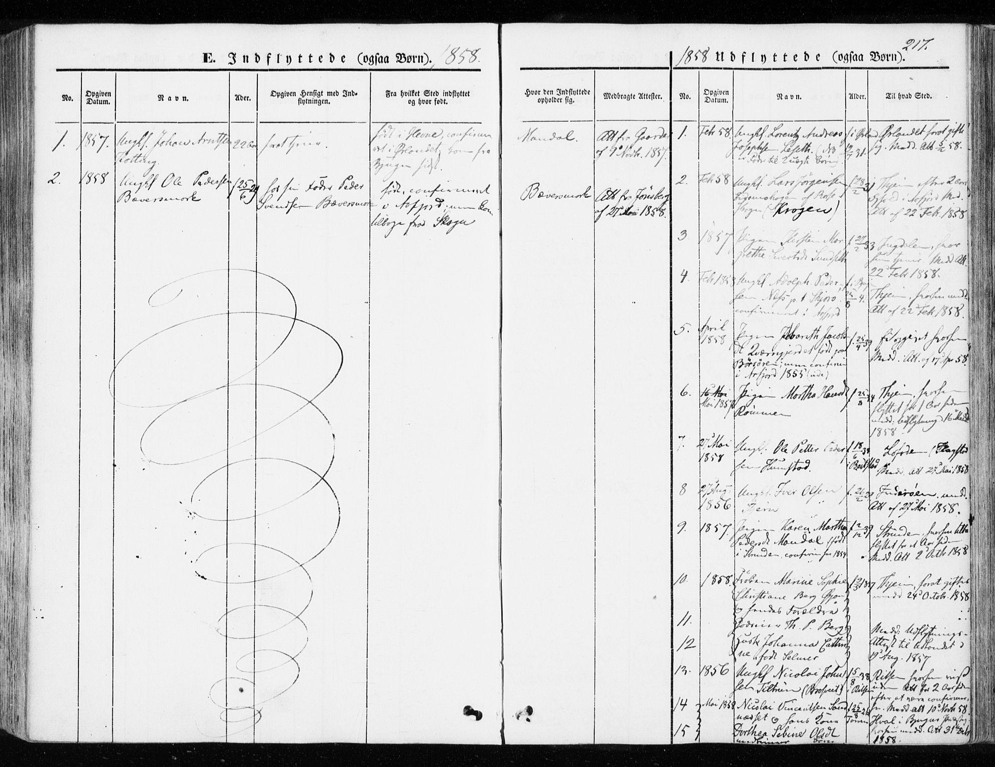 SAT, Ministerialprotokoller, klokkerbøker og fødselsregistre - Sør-Trøndelag, 655/L0677: Ministerialbok nr. 655A06, 1847-1860, s. 217