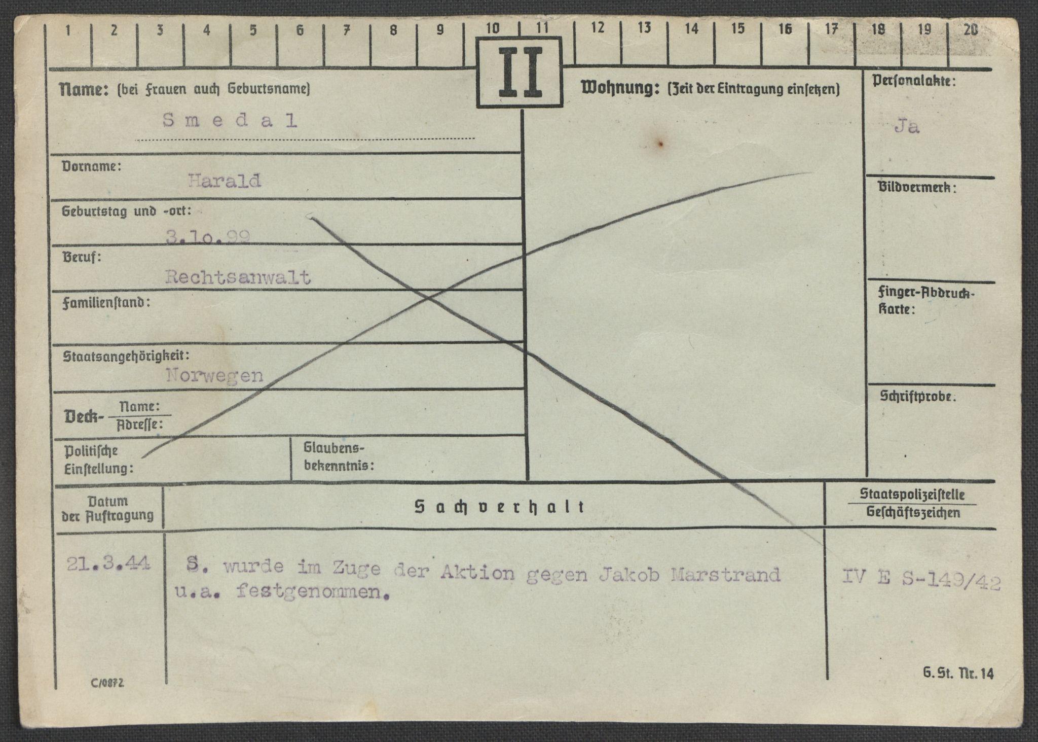 RA, Befehlshaber der Sicherheitspolizei und des SD, E/Ea/Eaa/L0009: Register over norske fanger i Møllergata 19: Ru-Sy, 1940-1945, s. 918