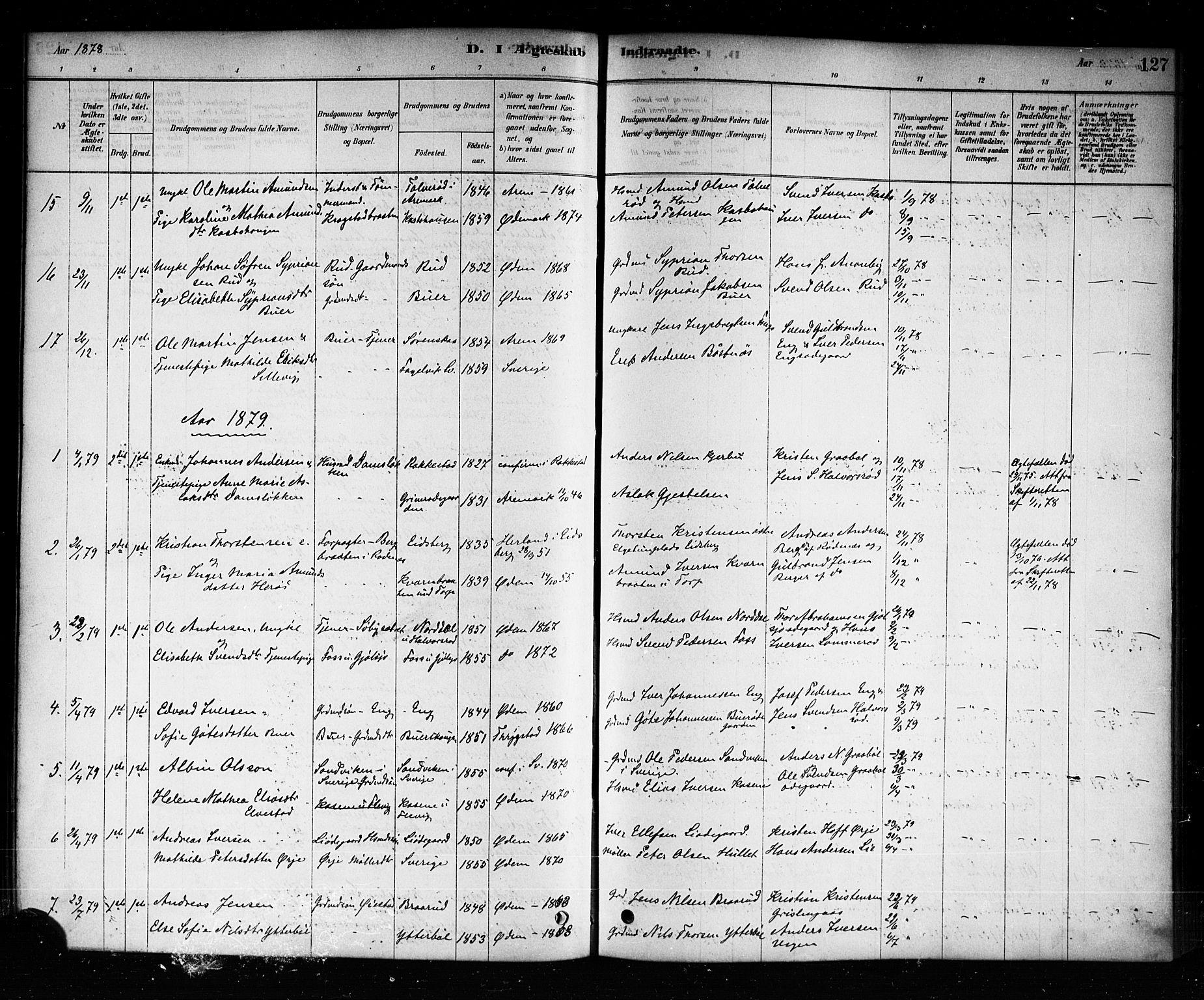 SAO, Aremark prestekontor Kirkebøker, F/Fb/L0004: Ministerialbok nr. II 4, 1878-1895, s. 127