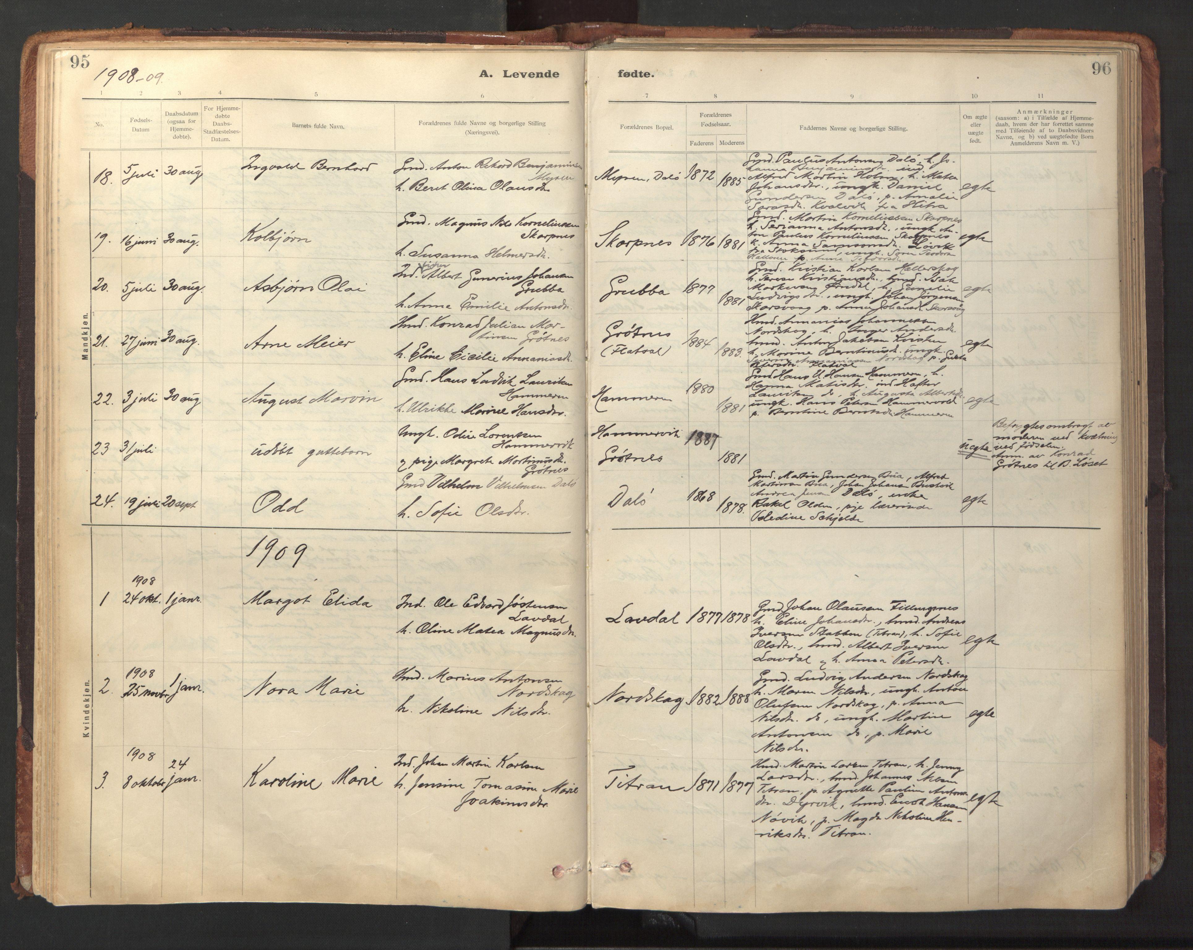 SAT, Ministerialprotokoller, klokkerbøker og fødselsregistre - Sør-Trøndelag, 641/L0596: Ministerialbok nr. 641A02, 1898-1915, s. 95-96