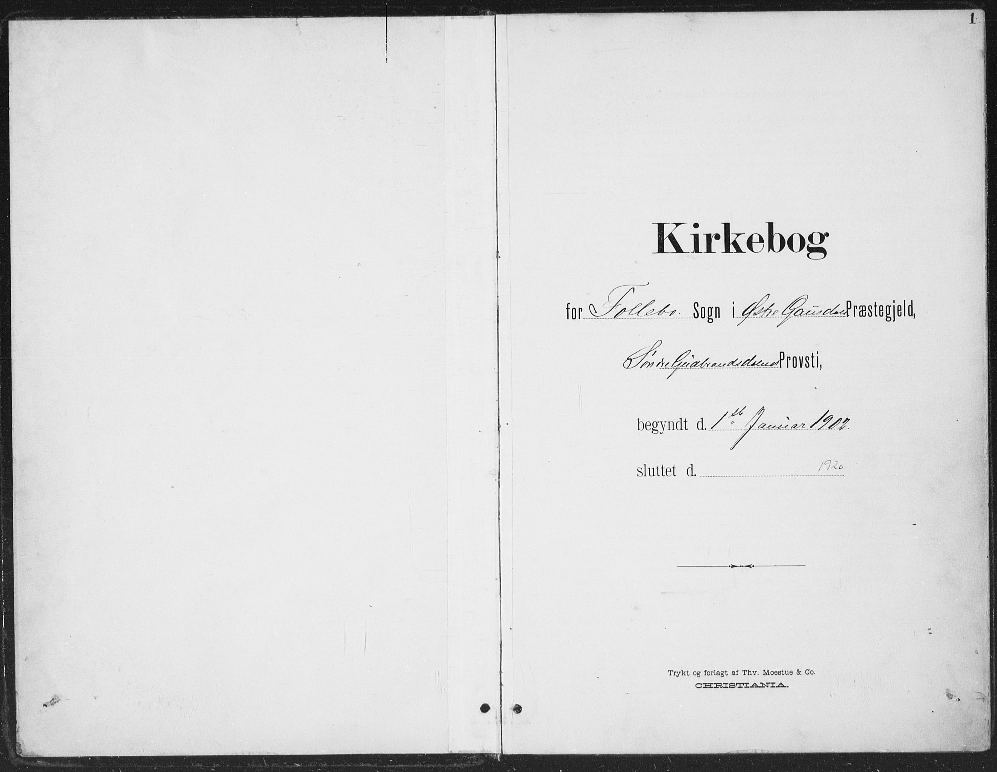 SAH, Østre Gausdal prestekontor, Ministerialbok nr. 5, 1902-1920, s. 1