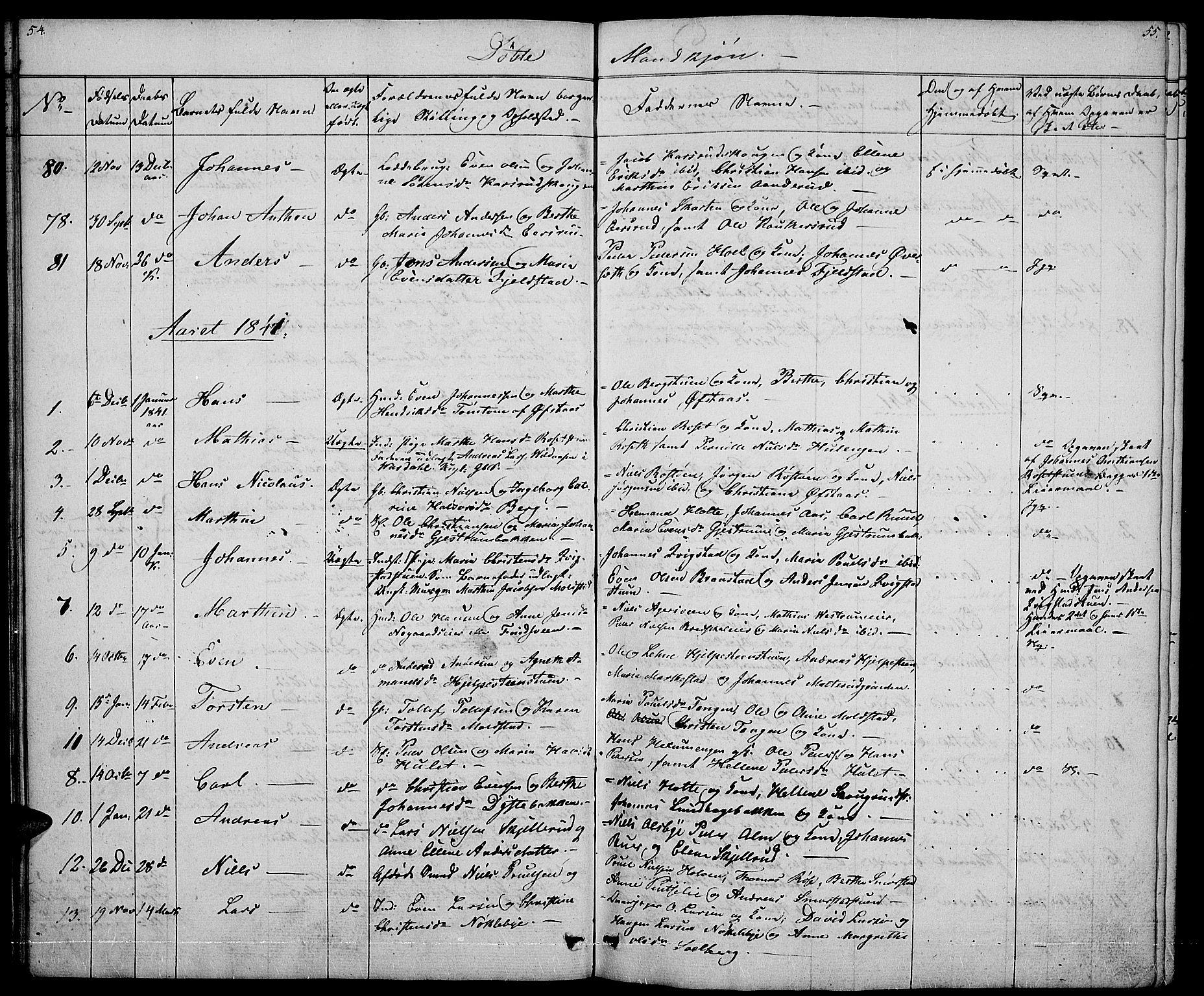 SAH, Vestre Toten prestekontor, Klokkerbok nr. 2, 1836-1848, s. 54-55