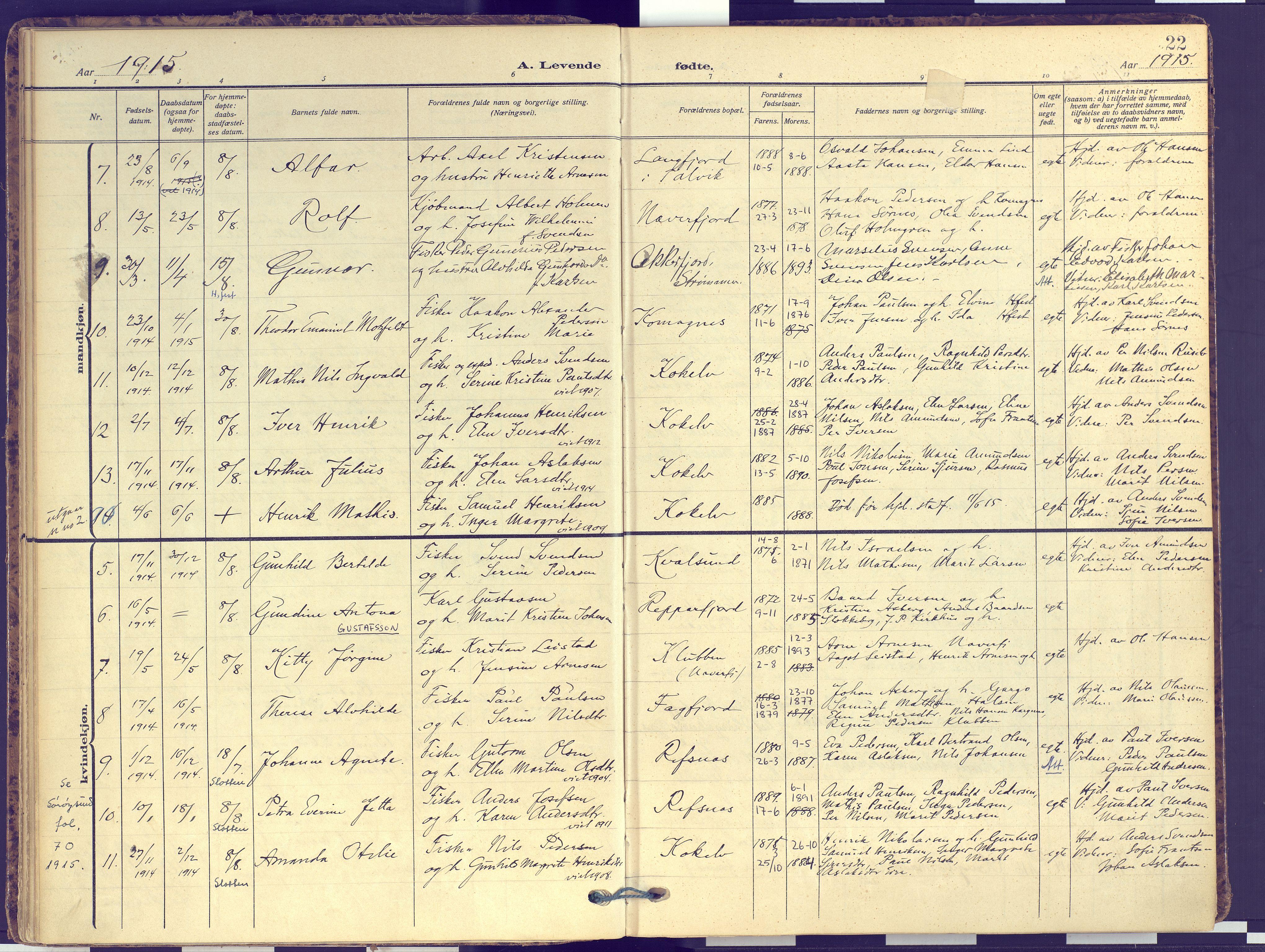 SATØ, Hammerfest sokneprestembete, Ministerialbok nr. 16, 1908-1923, s. 22