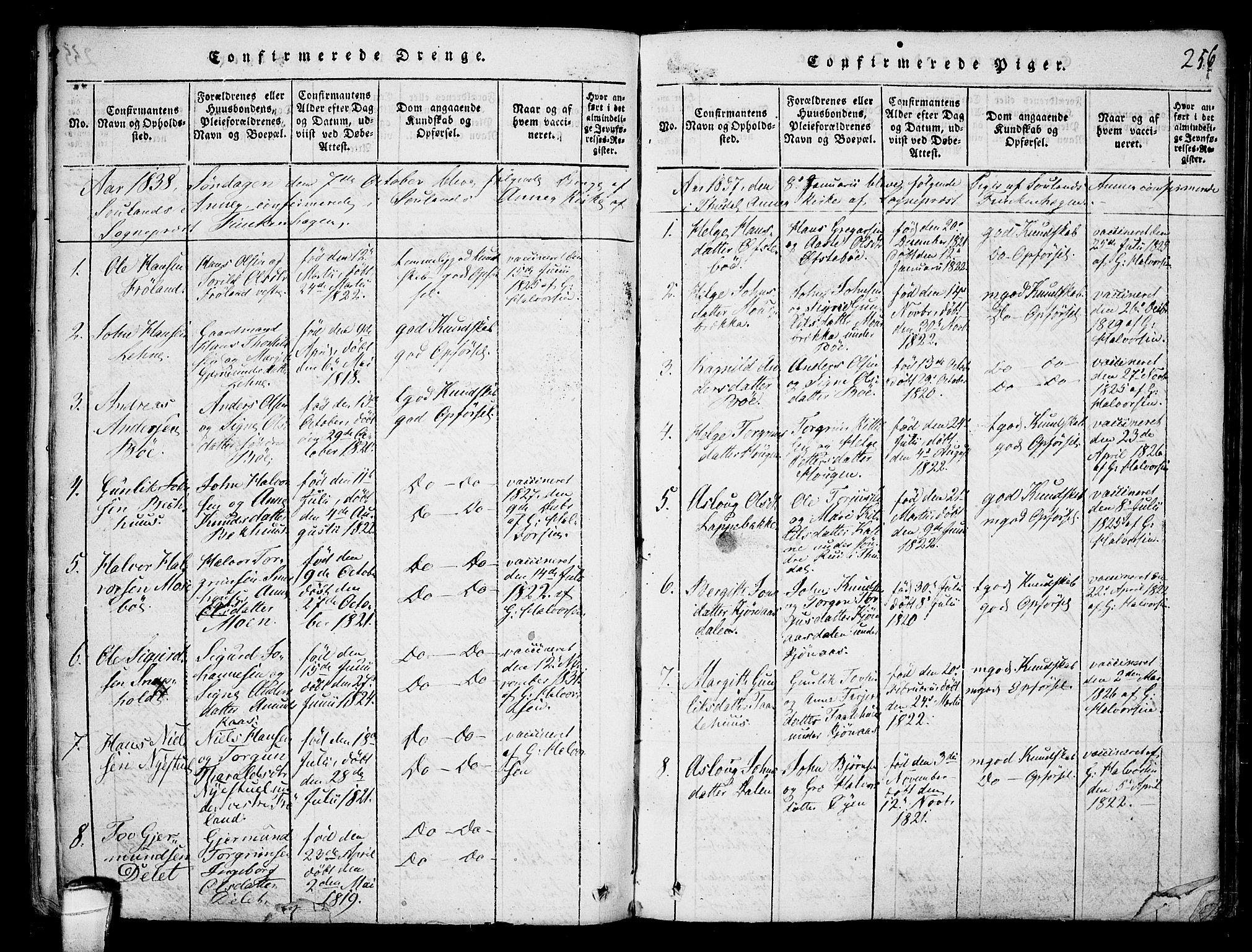SAKO, Hjartdal kirkebøker, F/Fb/L0001: Ministerialbok nr. II 1, 1815-1843, s. 256