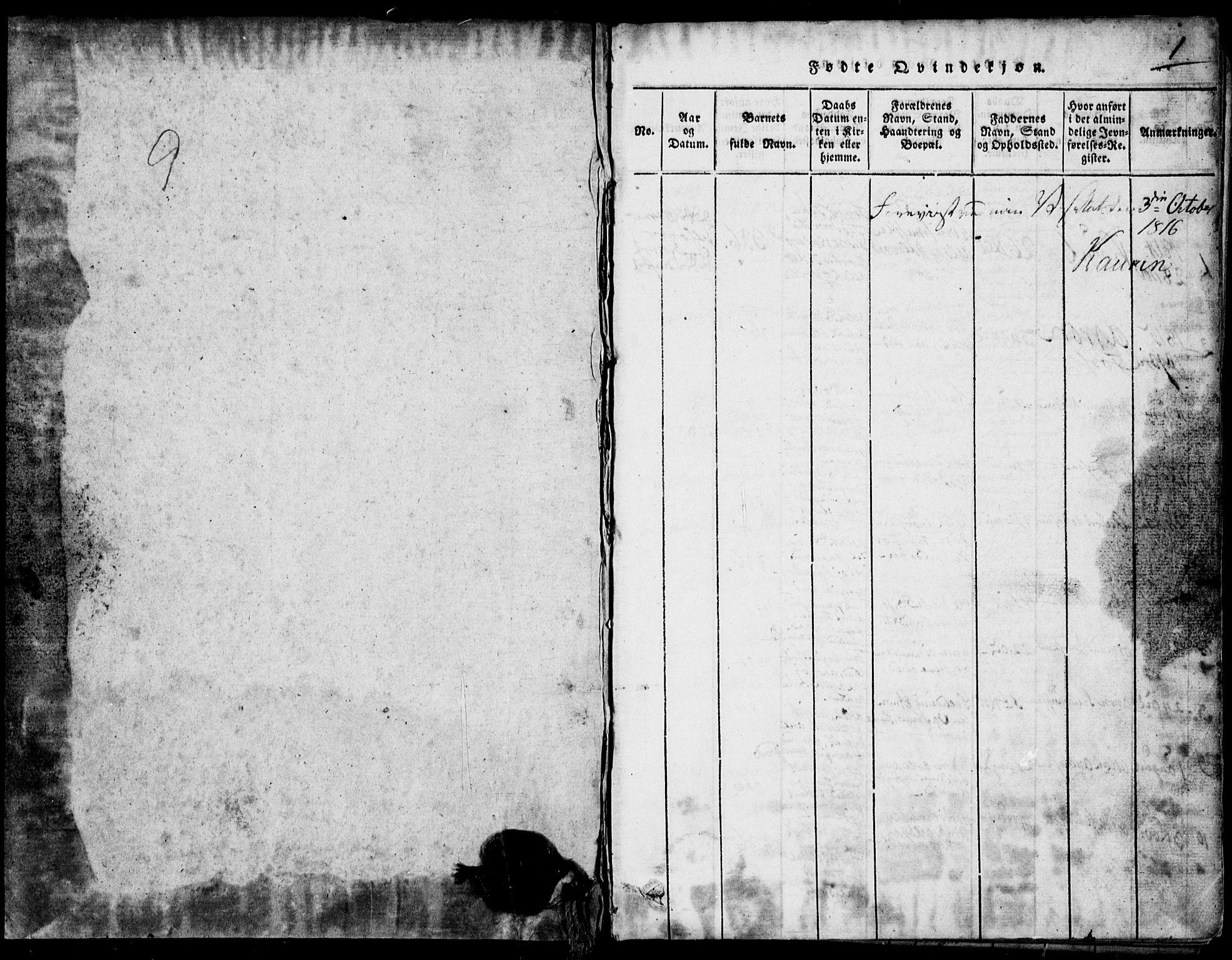 SAKO, Rauland kirkebøker, G/Ga/L0001: Klokkerbok nr. I 1, 1814-1843, s. 1