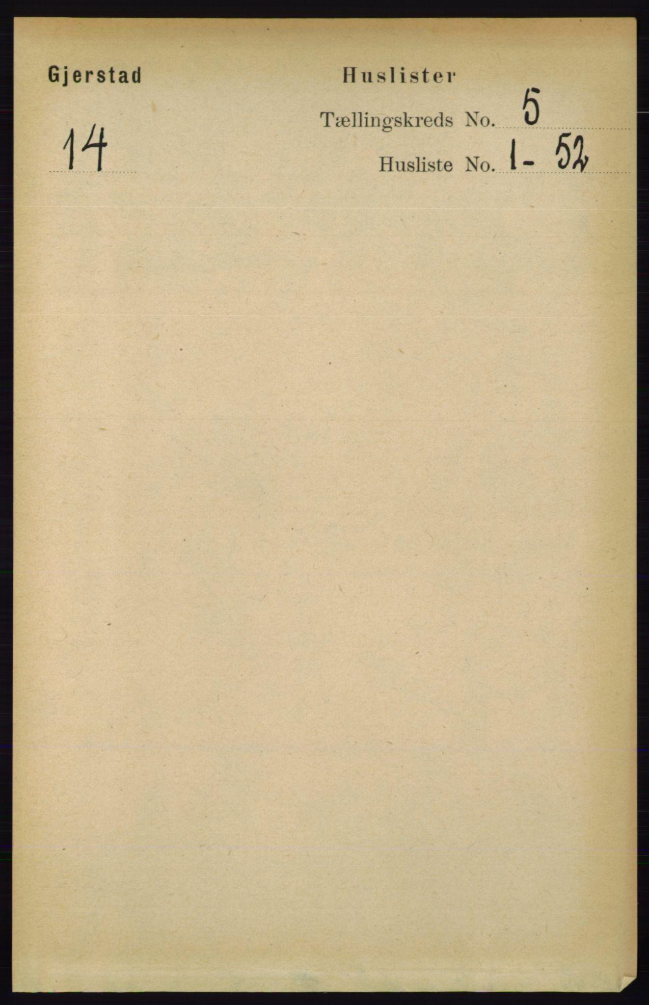 RA, Folketelling 1891 for 0911 Gjerstad herred, 1891, s. 1935