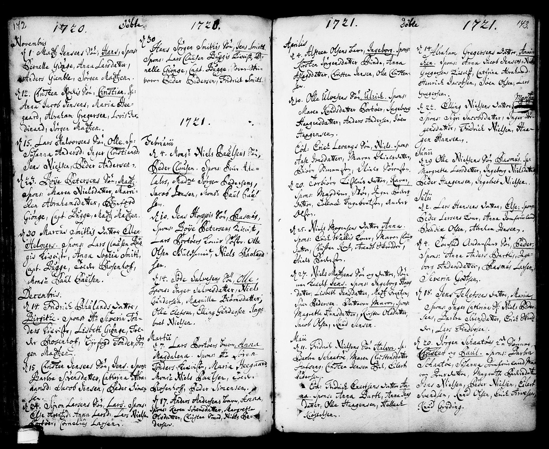 SAKO, Kragerø kirkebøker, F/Fa/L0001: Ministerialbok nr. 1, 1702-1766, s. 142-143