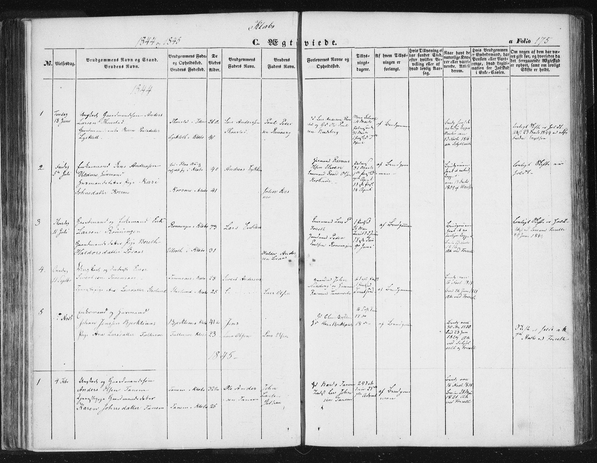 SAT, Ministerialprotokoller, klokkerbøker og fødselsregistre - Sør-Trøndelag, 618/L0441: Ministerialbok nr. 618A05, 1843-1862, s. 175