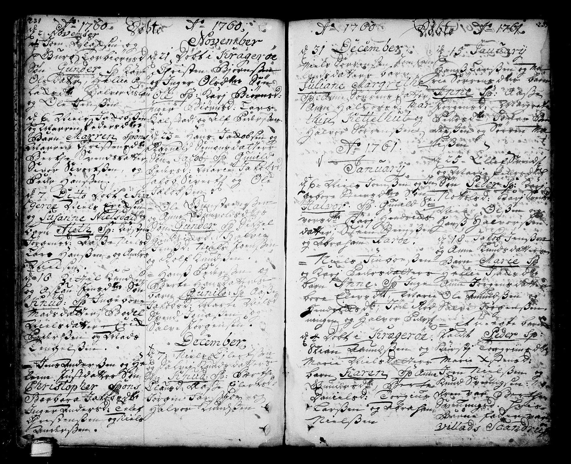 SAKO, Sannidal kirkebøker, F/Fa/L0001: Ministerialbok nr. 1, 1702-1766, s. 238-239