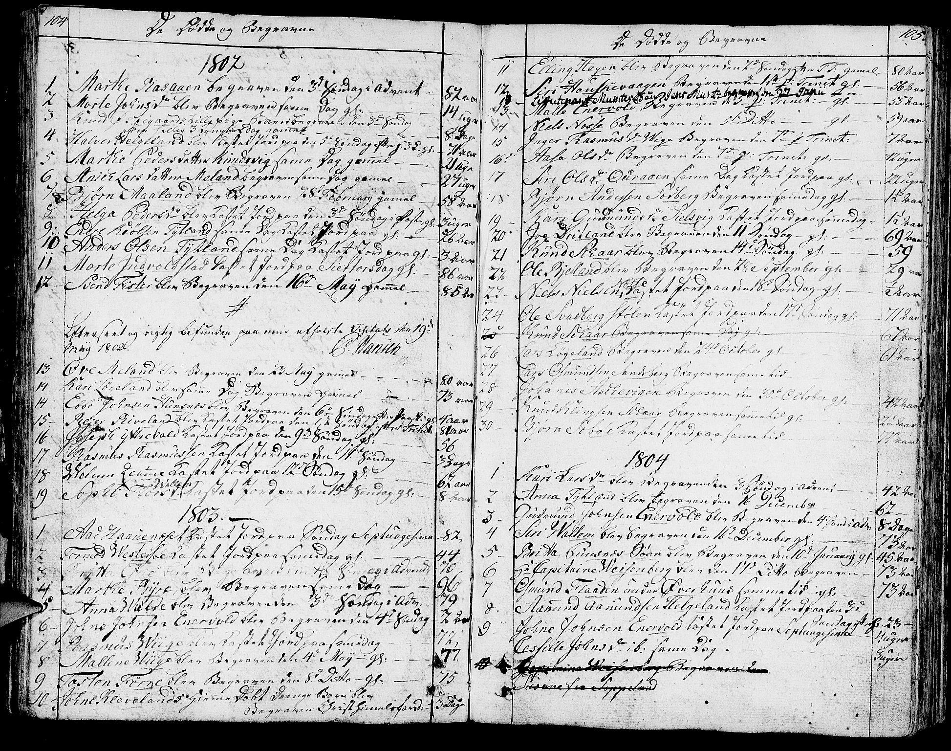 SAST, Hjelmeland sokneprestkontor, IV/L0002: Ministerialbok nr. A 2, 1799-1816, s. 104-105