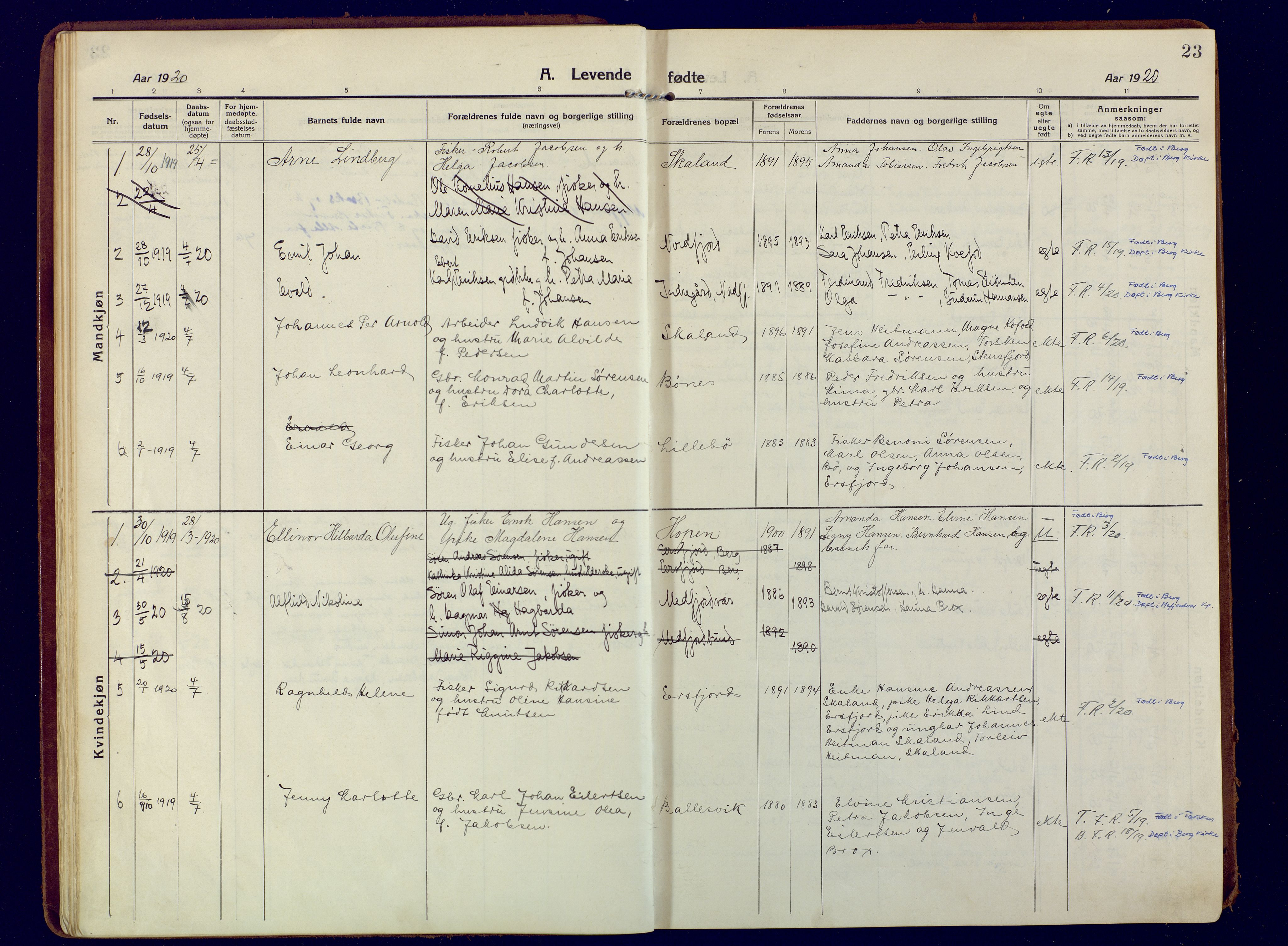 SATØ, Mefjord/Berg sokneprestkontor, G/Ga/Gaa: Ministerialbok nr. 9, 1916-1928, s. 23