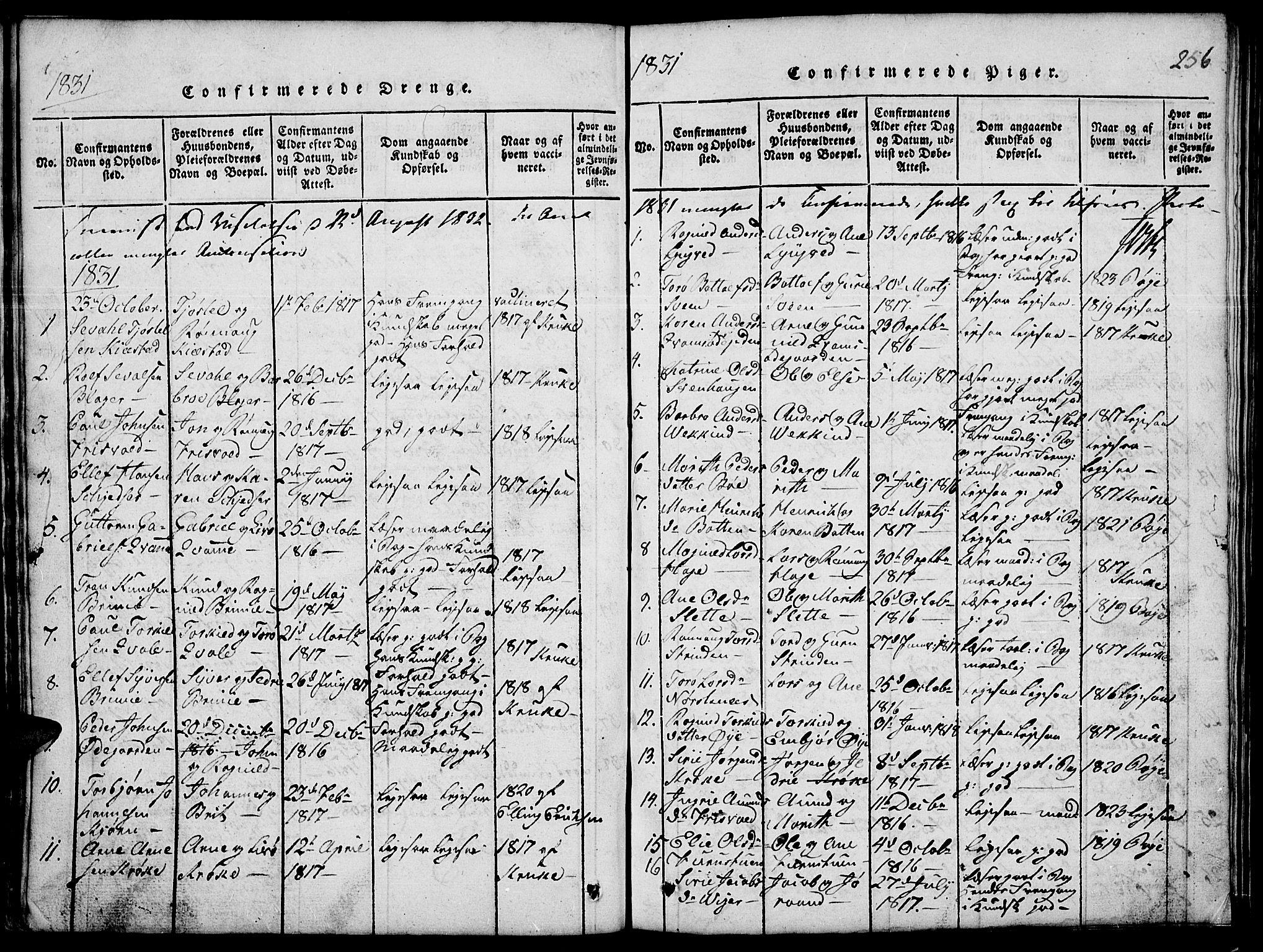 SAH, Lom prestekontor, L/L0001: Klokkerbok nr. 1, 1815-1836, s. 256