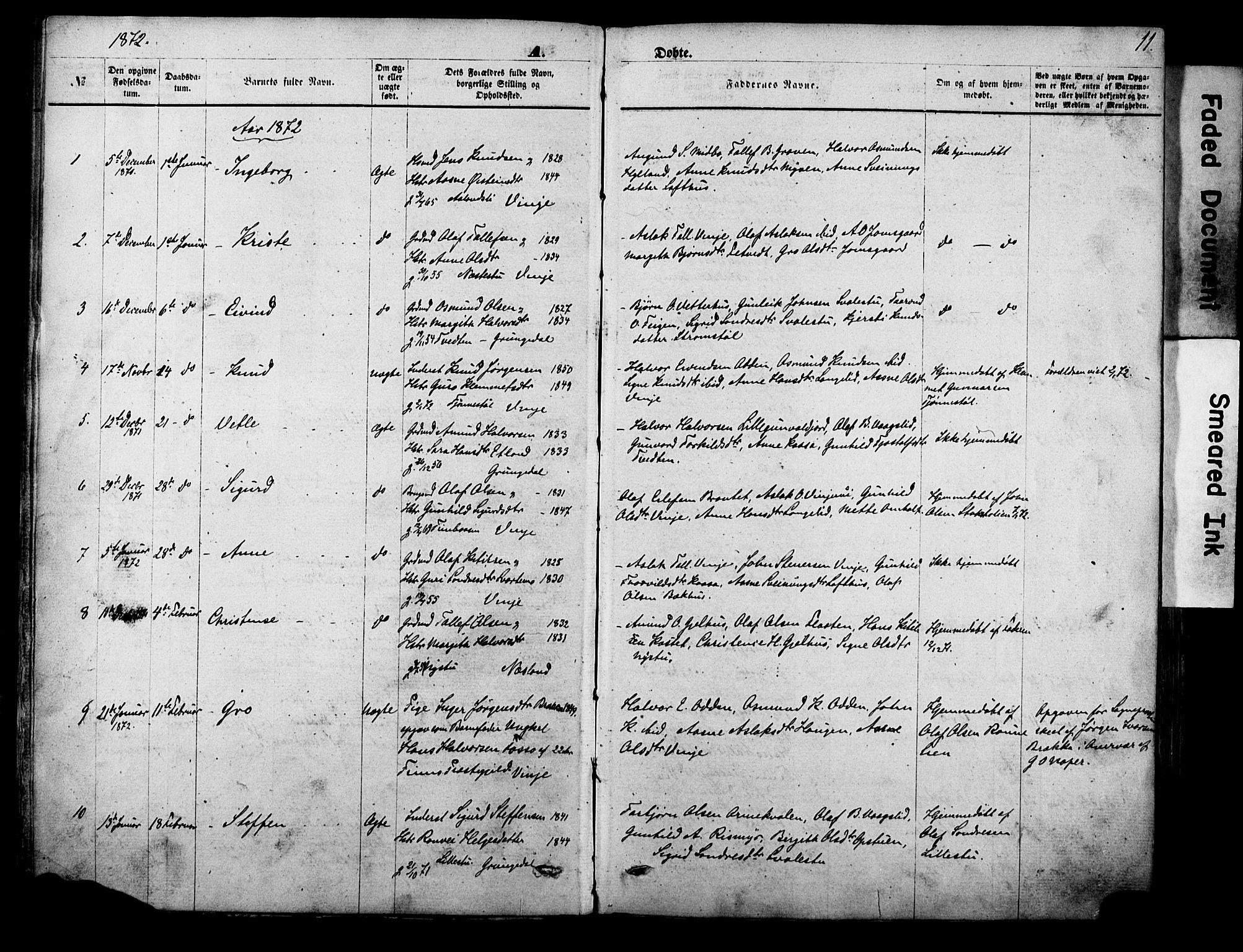 SAKO, Vinje kirkebøker, F/Fa/L0005: Ministerialbok nr. I 5, 1870-1886, s. 11