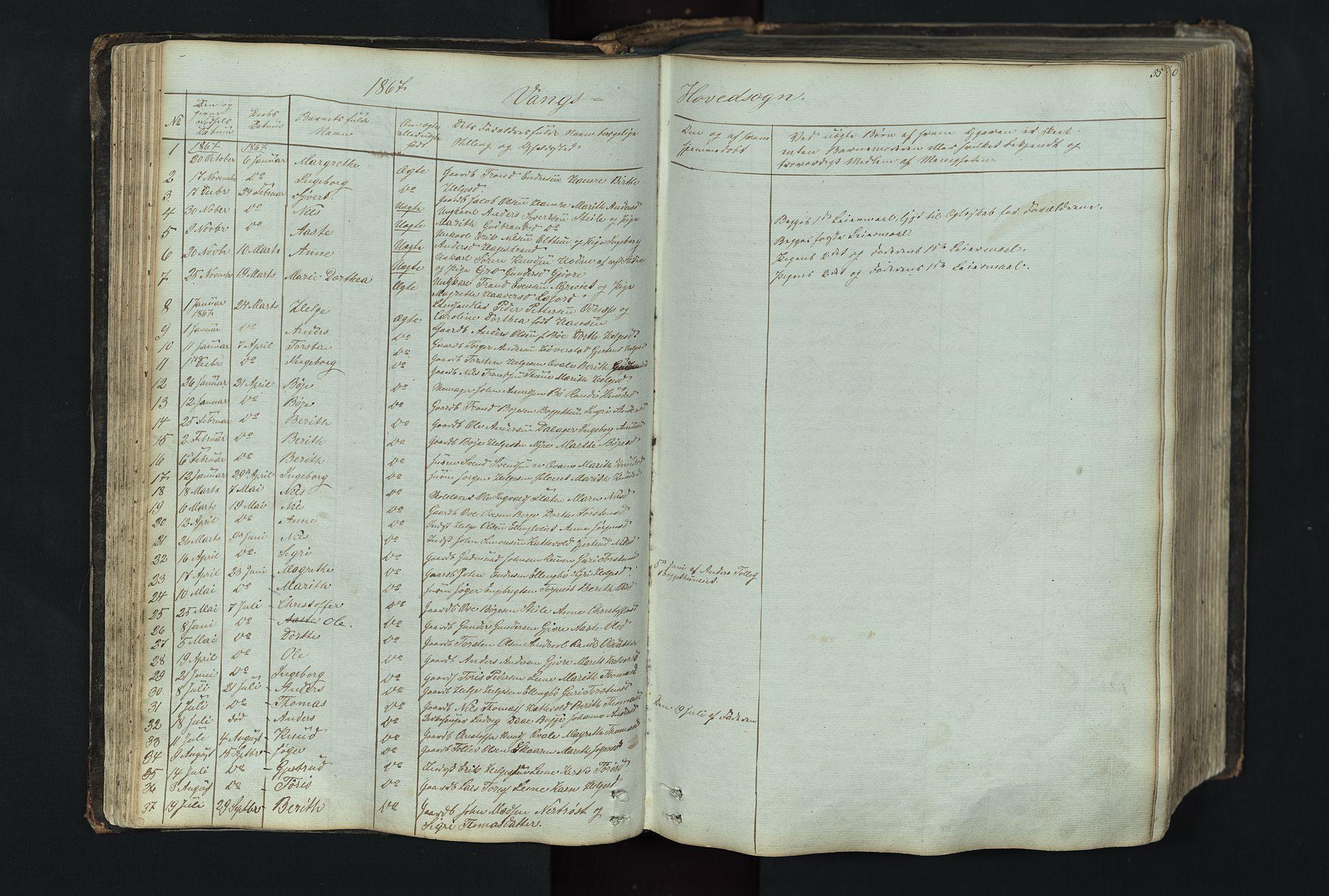 SAH, Vang prestekontor, Valdres, Klokkerbok nr. 4, 1835-1892, s. 55