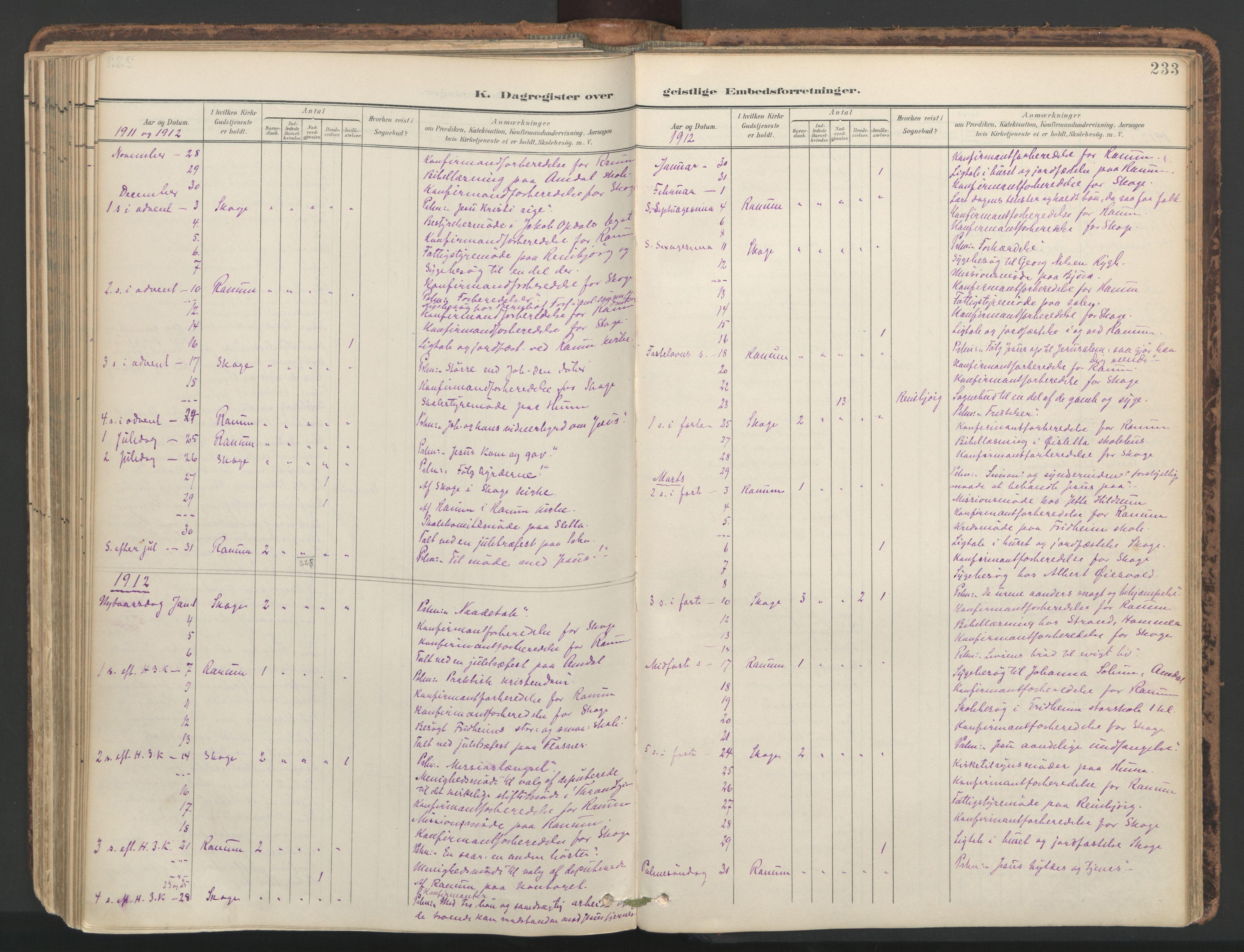 SAT, Ministerialprotokoller, klokkerbøker og fødselsregistre - Nord-Trøndelag, 764/L0556: Ministerialbok nr. 764A11, 1897-1924, s. 233