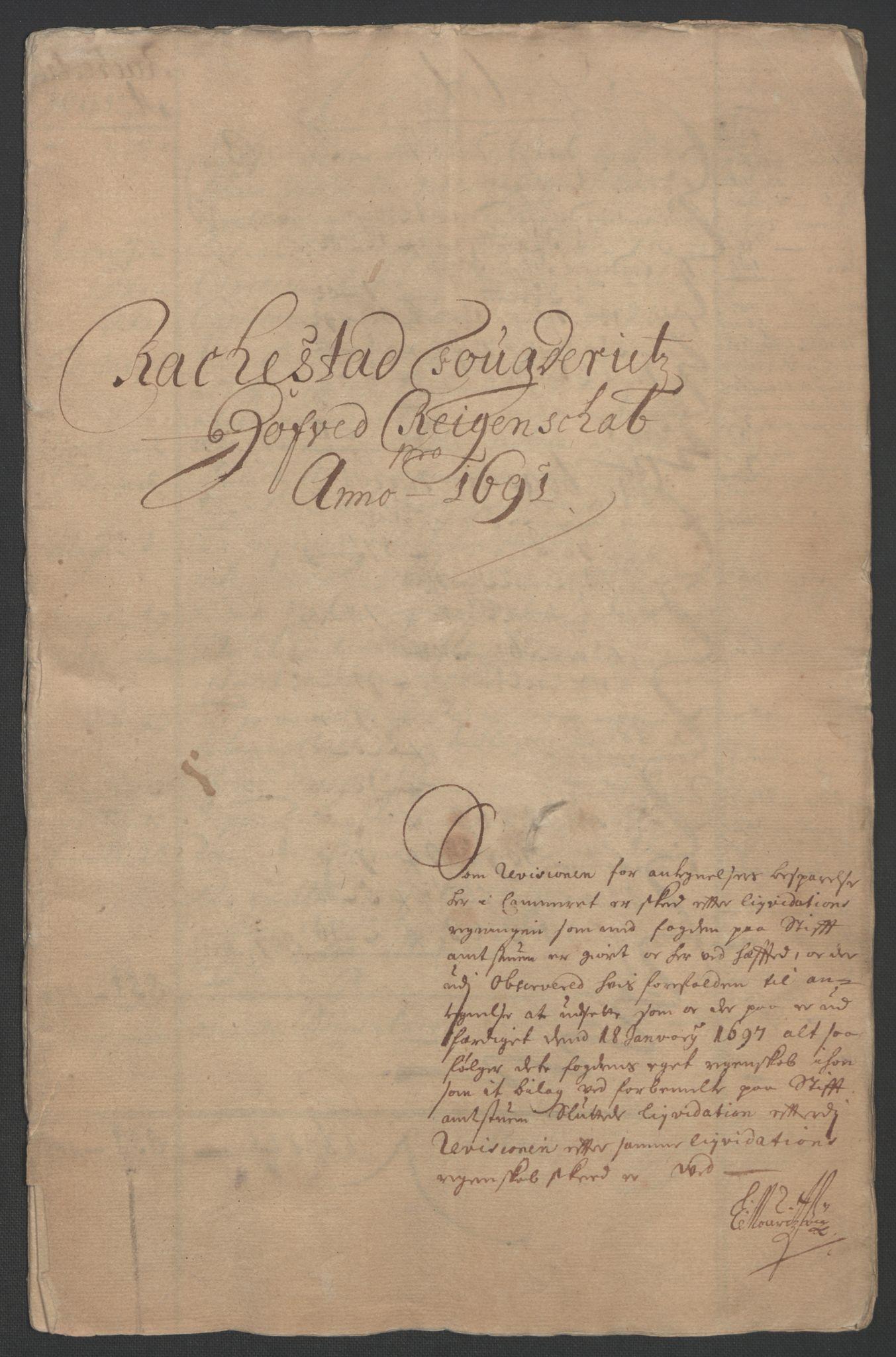 RA, Rentekammeret inntil 1814, Reviderte regnskaper, Fogderegnskap, R05/L0278: Fogderegnskap Rakkestad, 1691-1693, s. 3