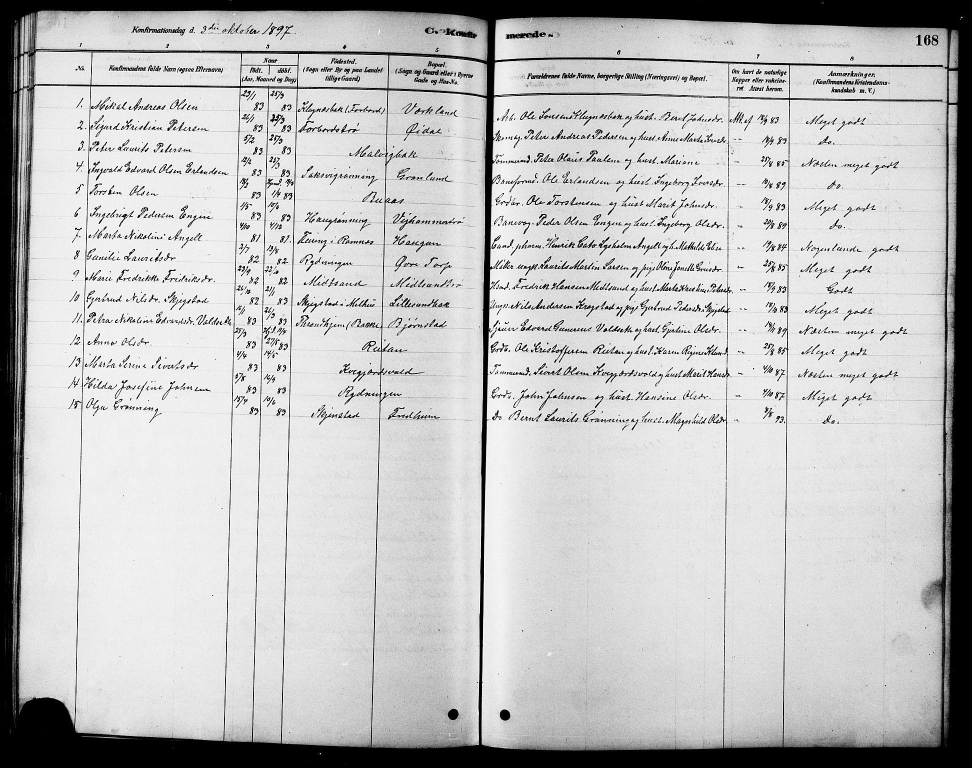 SAT, Ministerialprotokoller, klokkerbøker og fødselsregistre - Sør-Trøndelag, 616/L0423: Klokkerbok nr. 616C06, 1878-1903, s. 168