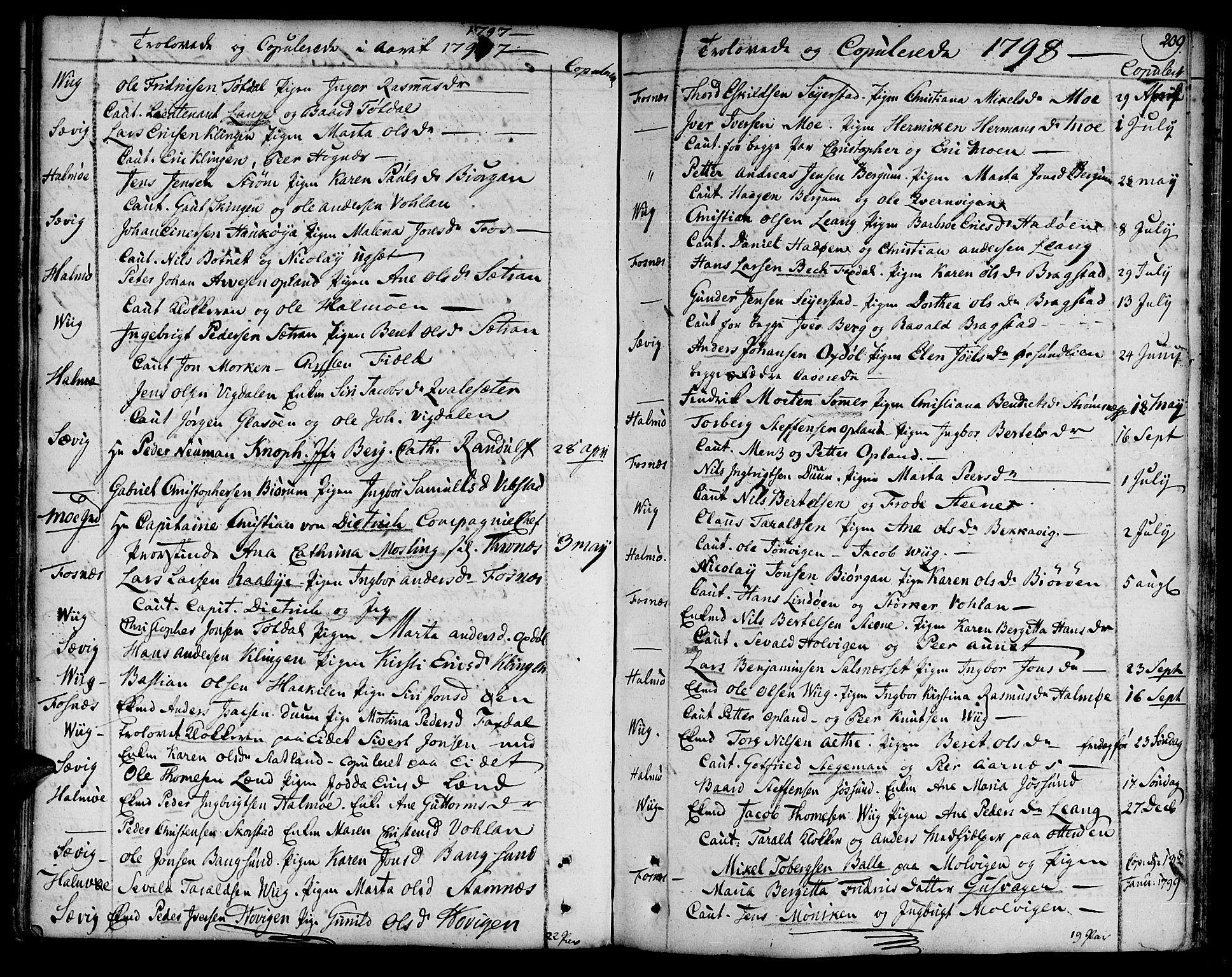 SAT, Ministerialprotokoller, klokkerbøker og fødselsregistre - Nord-Trøndelag, 773/L0608: Ministerialbok nr. 773A02, 1784-1816, s. 209