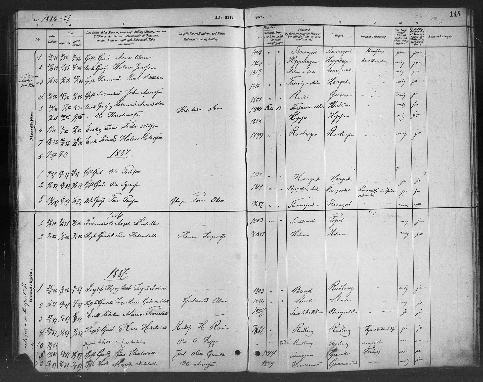 SAH, Nord-Aurdal prestekontor, Klokkerbok nr. 8, 1883-1916, s. 144