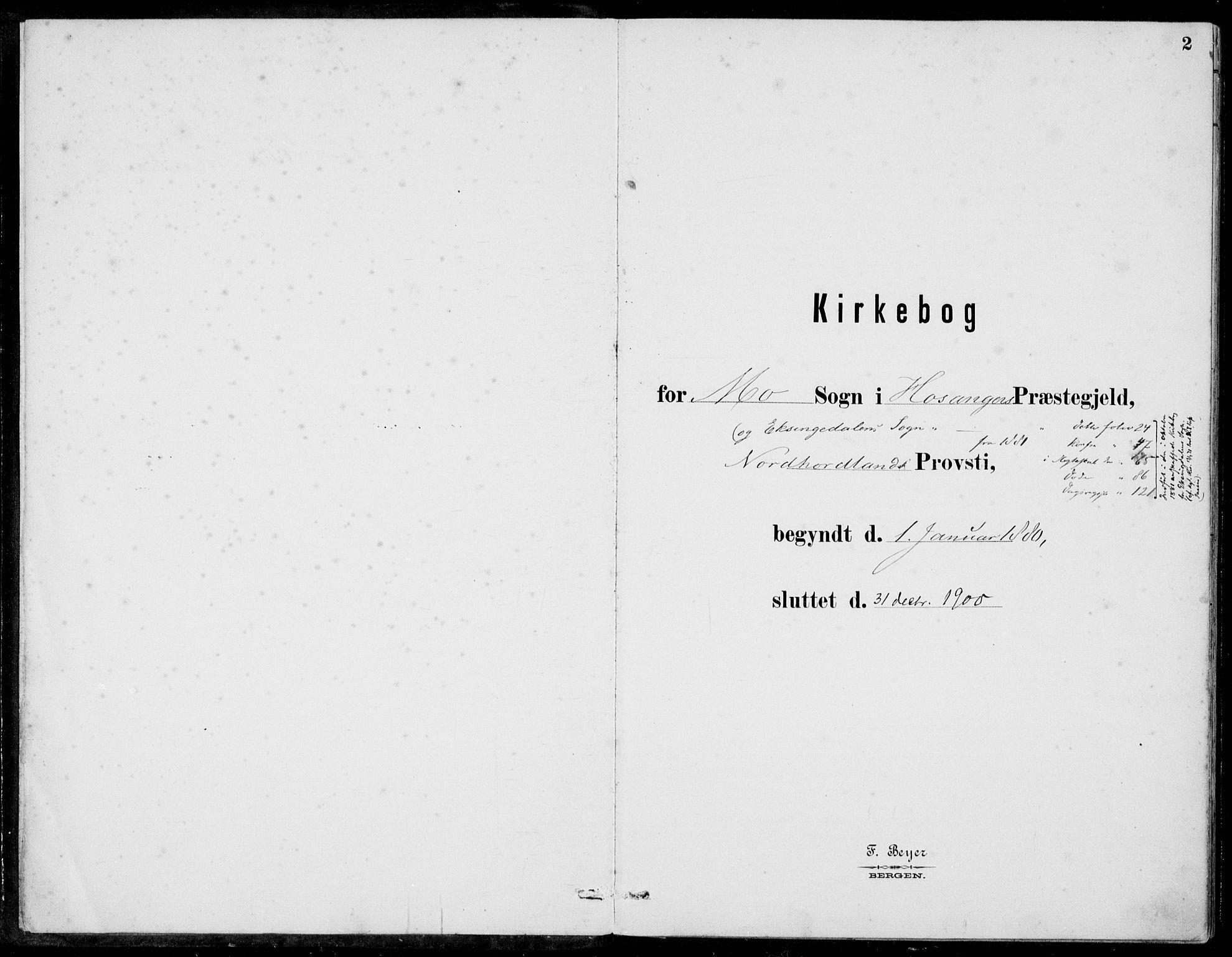 SAB, Hosanger Sokneprestembete, H/Haa: Ministerialbok nr. C  1, 1880-1900, s. 2