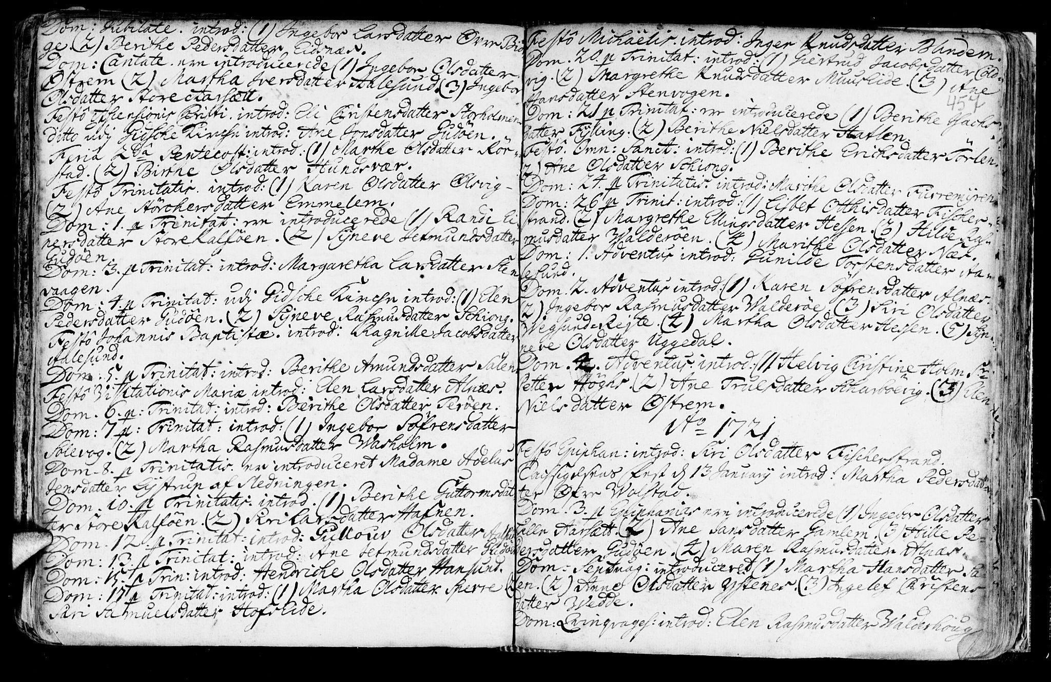 SAT, Ministerialprotokoller, klokkerbøker og fødselsregistre - Møre og Romsdal, 528/L0390: Ministerialbok nr. 528A01, 1698-1739, s. 456-457