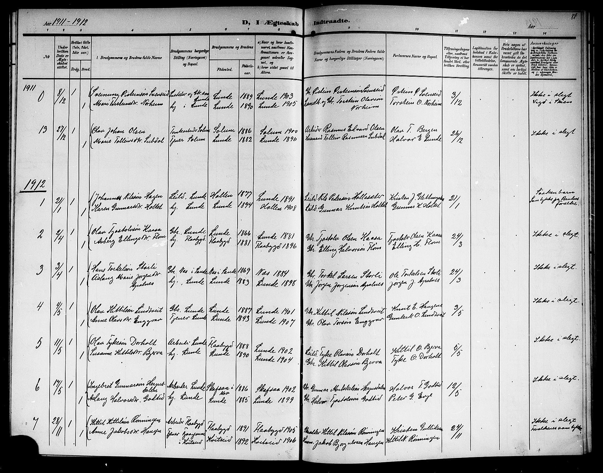 SAKO, Lunde kirkebøker, G/Ga/L0004: Klokkerbok nr. I 4, 1906-1914, s. 87