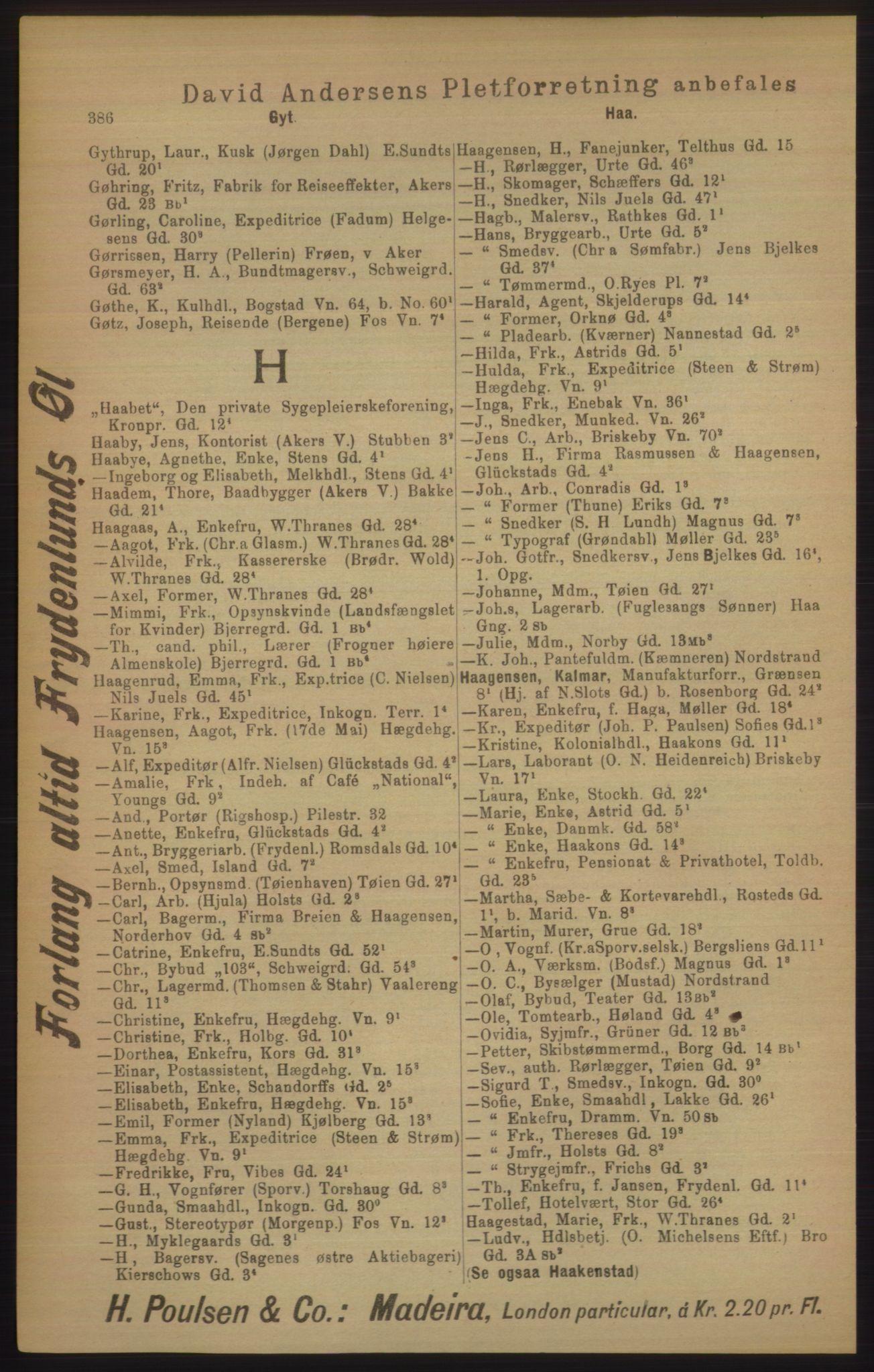 RA, Kristiania adressebok (publikasjon)*, 1906, s. 386