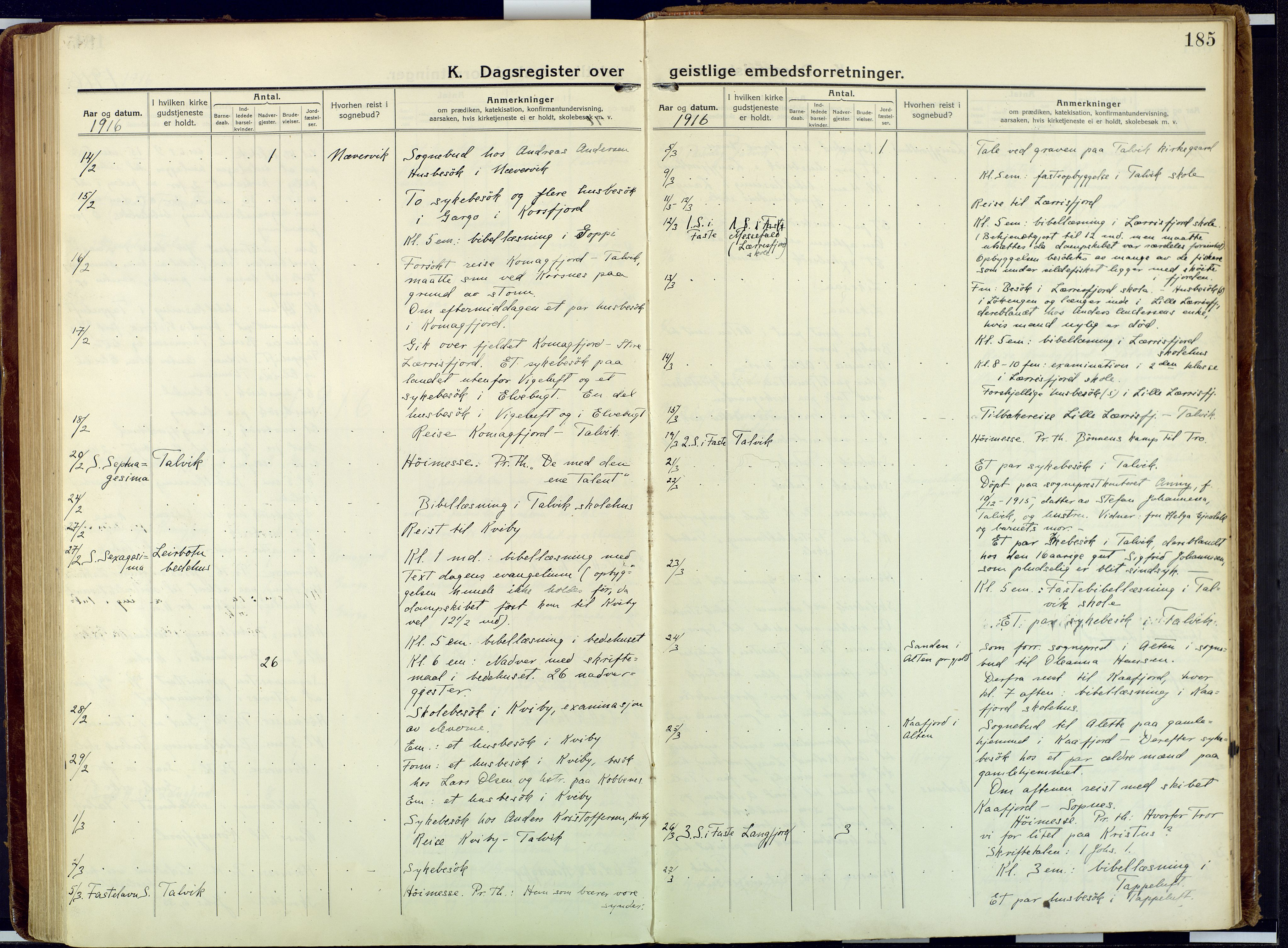 SATØ, Talvik sokneprestkontor, H/Ha/L0018kirke: Ministerialbok nr. 18, 1915-1924, s. 185